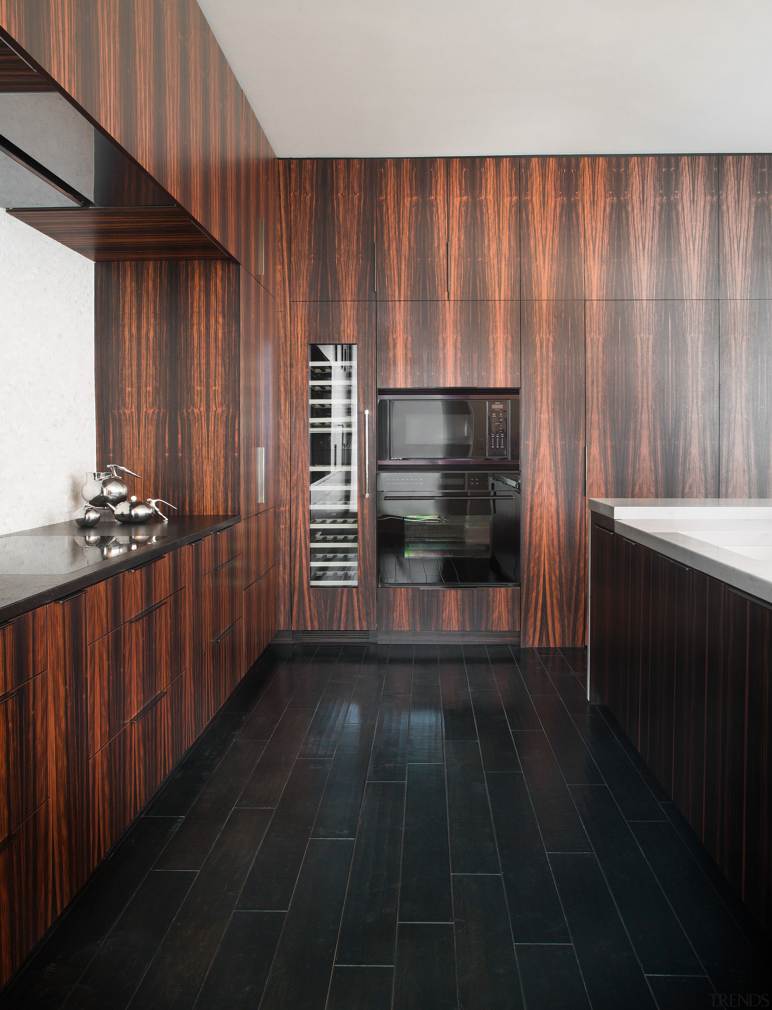 Lacking detailing such as crown mouldings, this kitchen architecture, cabinetry, ceiling, countertop, floor, flooring, interior design, kitchen, room, wood, black