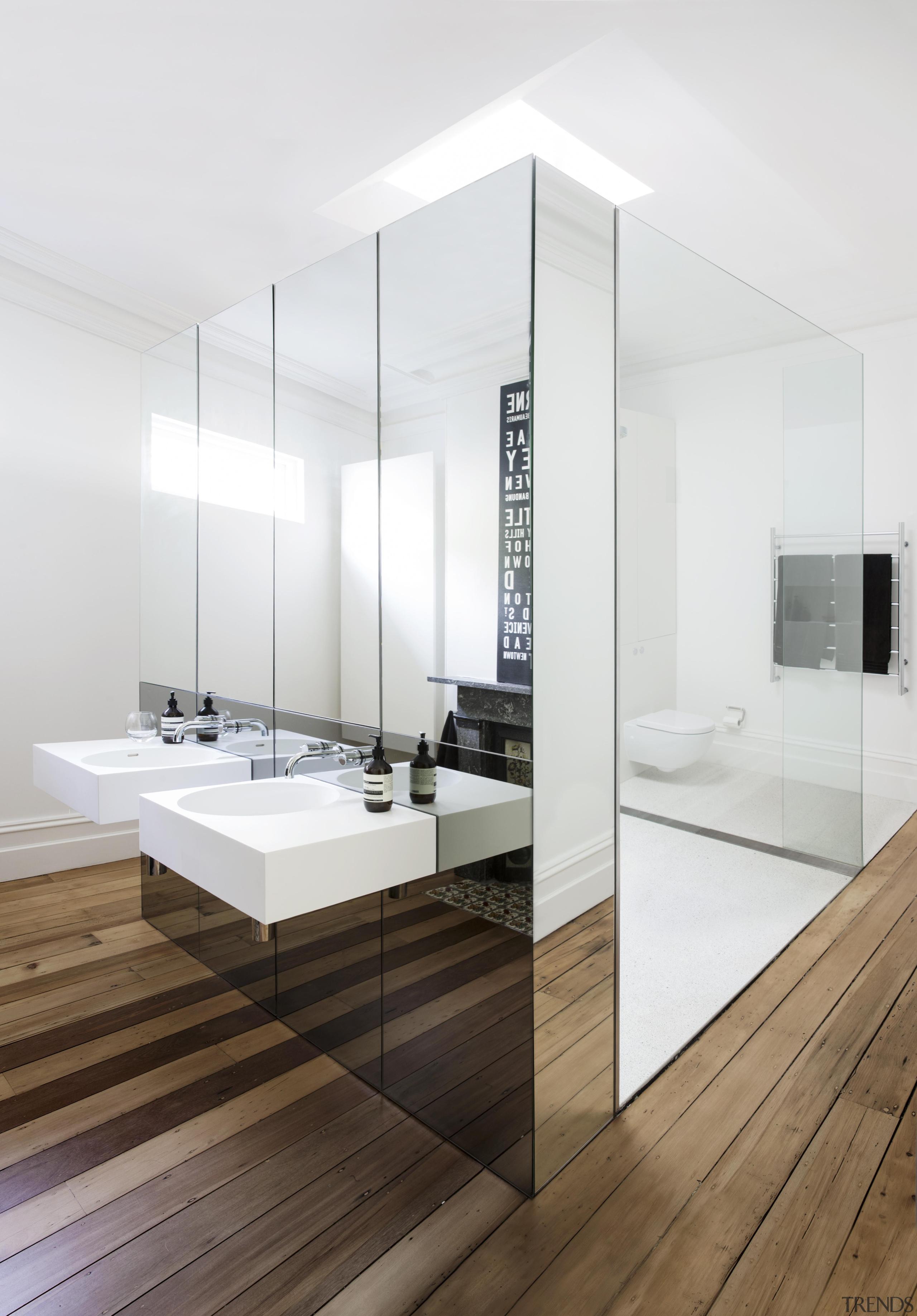 Eva-Marie Prineas of Architect Prineas.This bathroom also won:2015 bathroom, floor, flooring, interior design, product design, sink, tap, white
