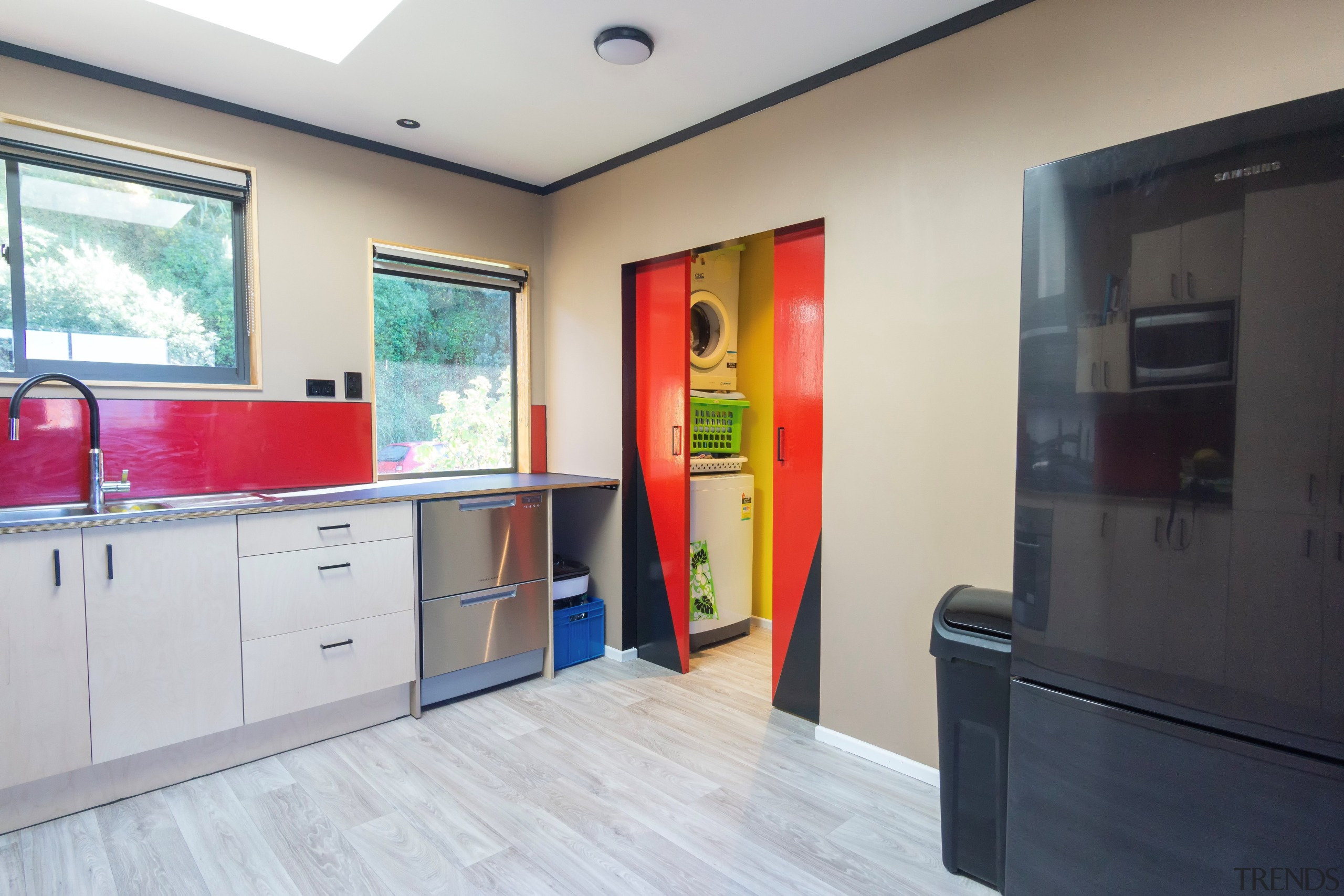 On this renovation, Resene Zylone Sheen was used gray