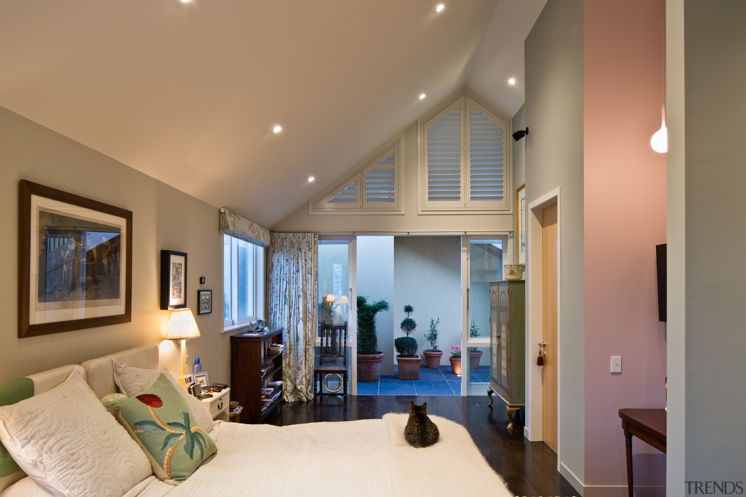 This master bedroom opens to a privarte courtyard. ceiling, estate, floor, home, interior design, living room, property, real estate, room, window, brown, orange
