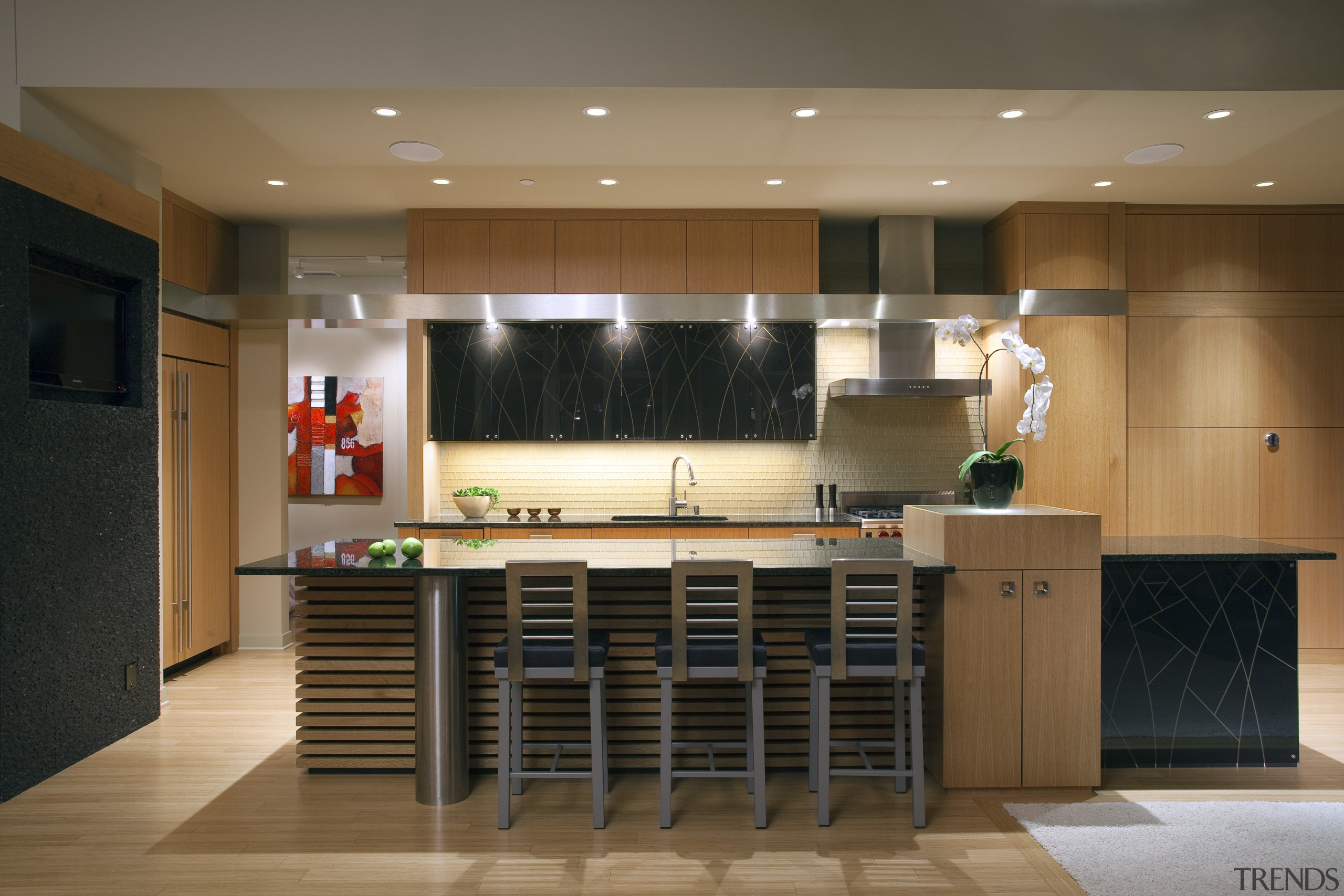 View of contemporary kitchen with wooden features and cabinetry, ceiling, countertop, floor, flooring, furniture, interior design, kitchen, lobby, room, table, brown