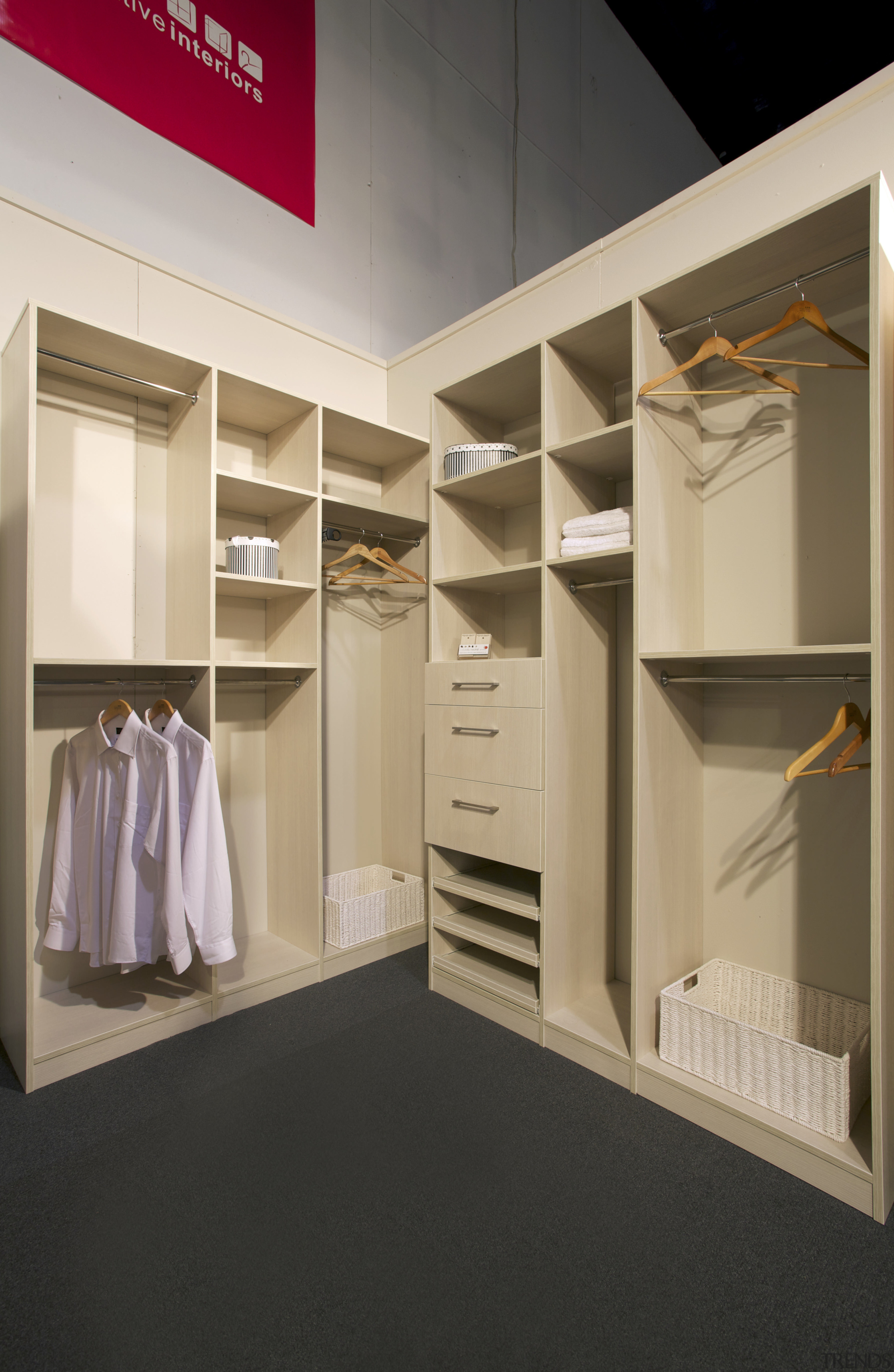 View of the bedroom cabinetry by Yellowfox - closet, furniture, interior design, product design, room, wardrobe, black, gray