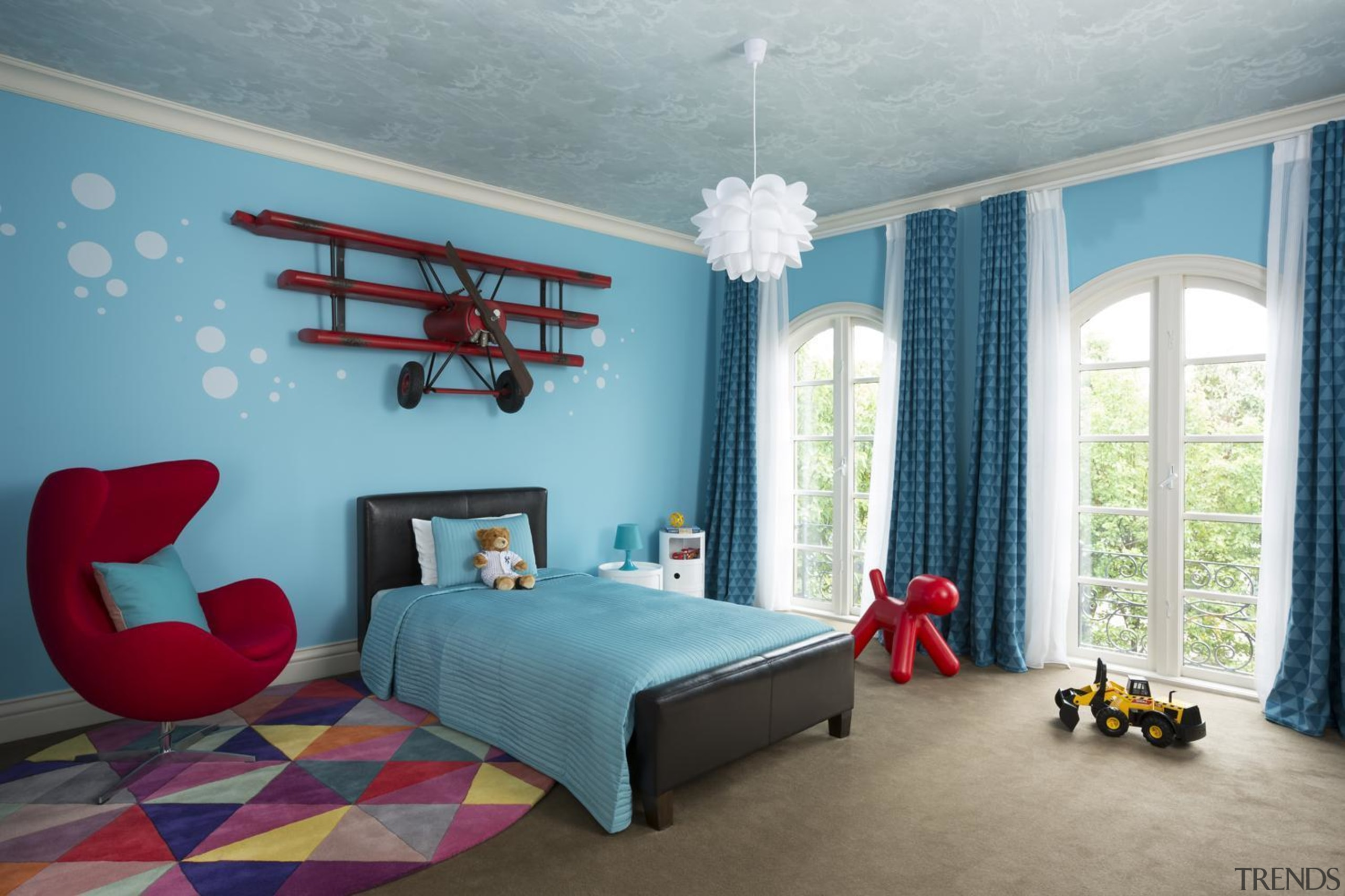Kids Bedroom - bedding | bedroom | blue bedding, bedroom, blue, ceiling, home, interior design, living room, real estate, room, textile, wall, window, gray, teal