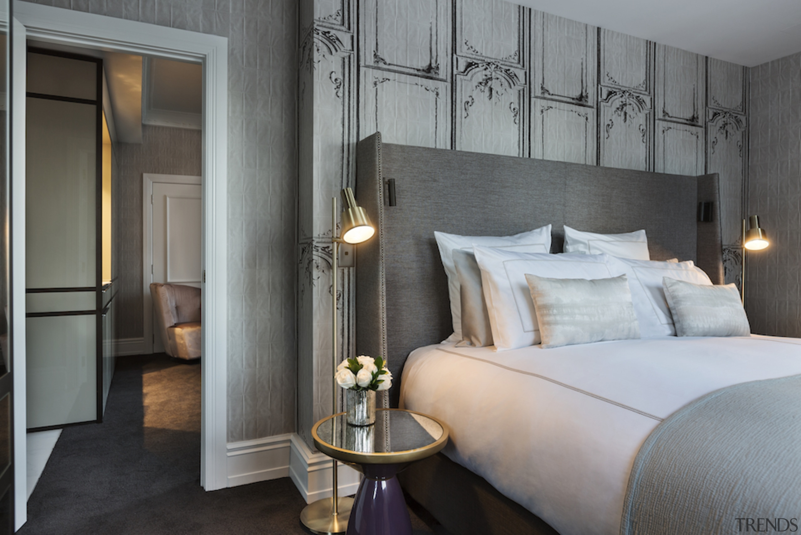 Junior Suite bedroom, Grand Windsor Hotel - Grand bed frame, bedroom, ceiling, floor, furniture, home, interior design, room, suite, wall, gray, black