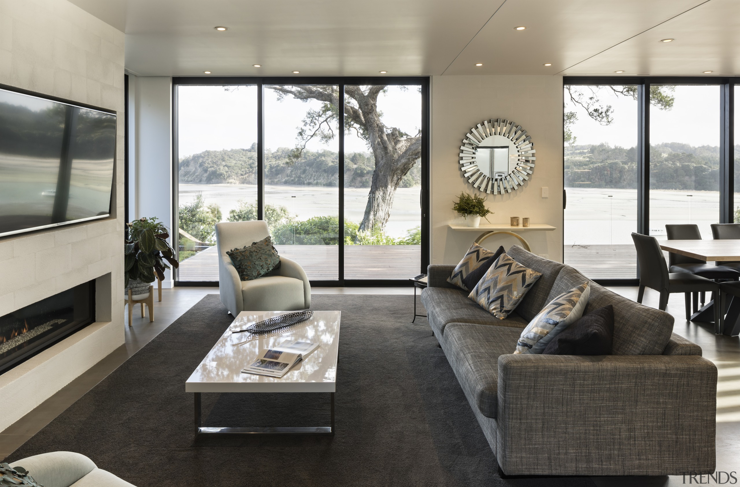 Open to harbour views from living areas at house, interior design, living room, real estate, window, gray, black