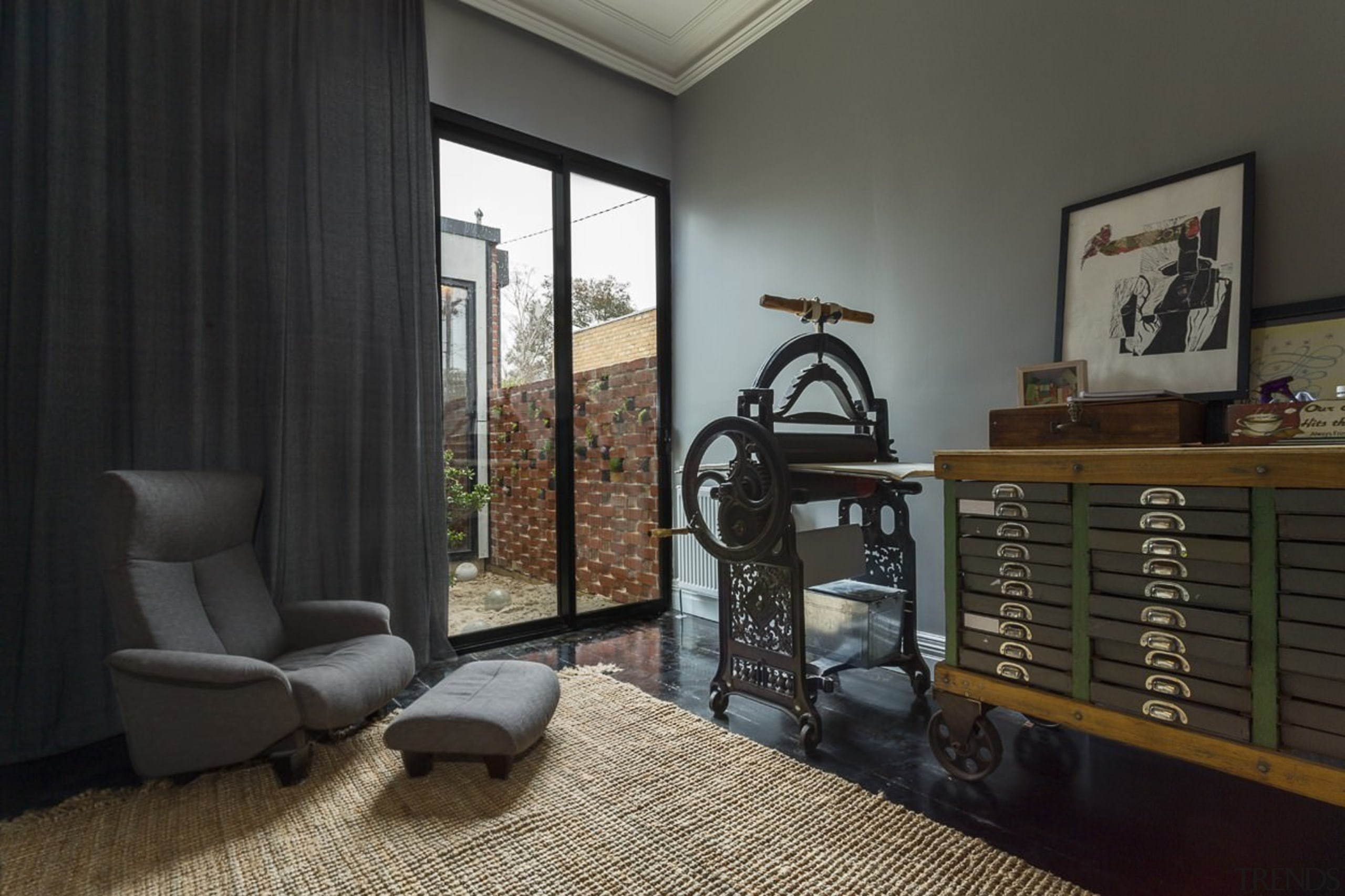 High ceilings make for a spacious study area home, interior design, living room, real estate, room, window, black