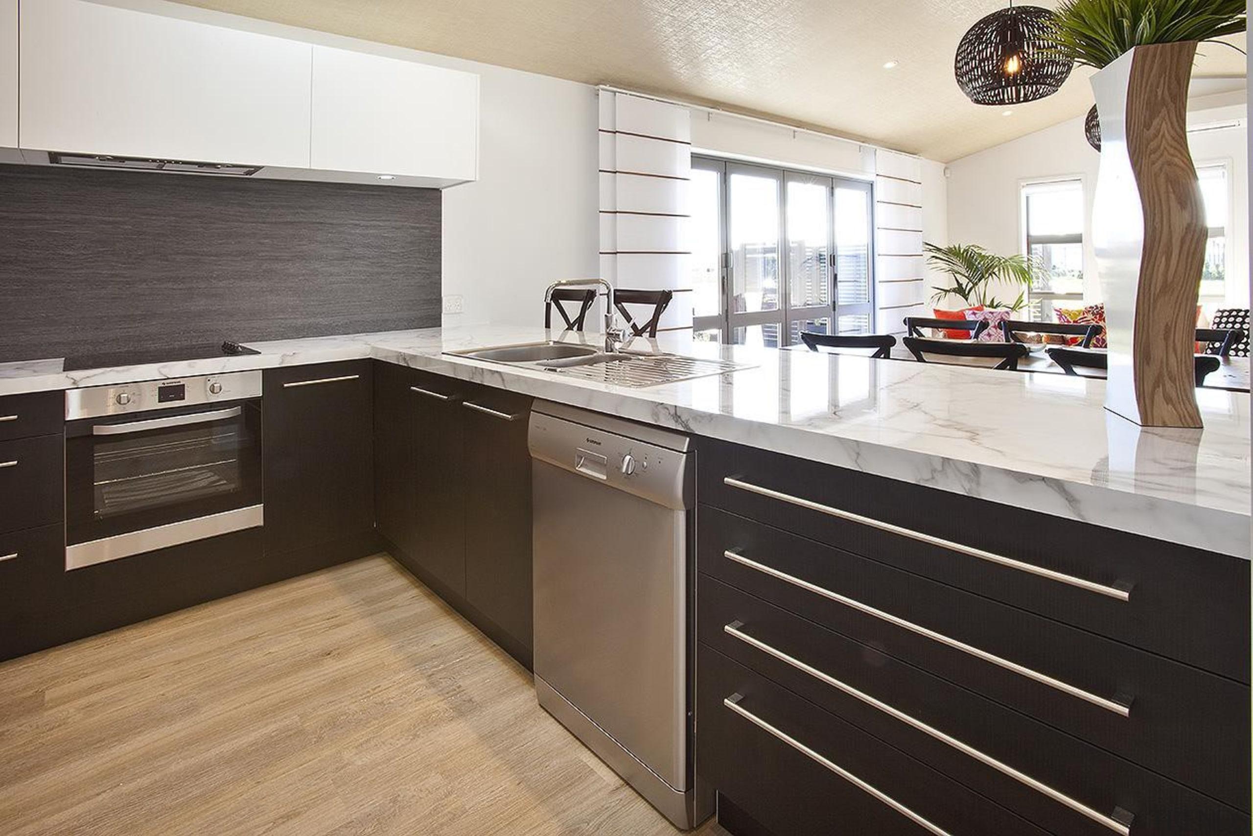 For more information, please visit www.gjgardner.co.nz cabinetry, countertop, cuisine classique, floor, interior design, kitchen, real estate, white, black