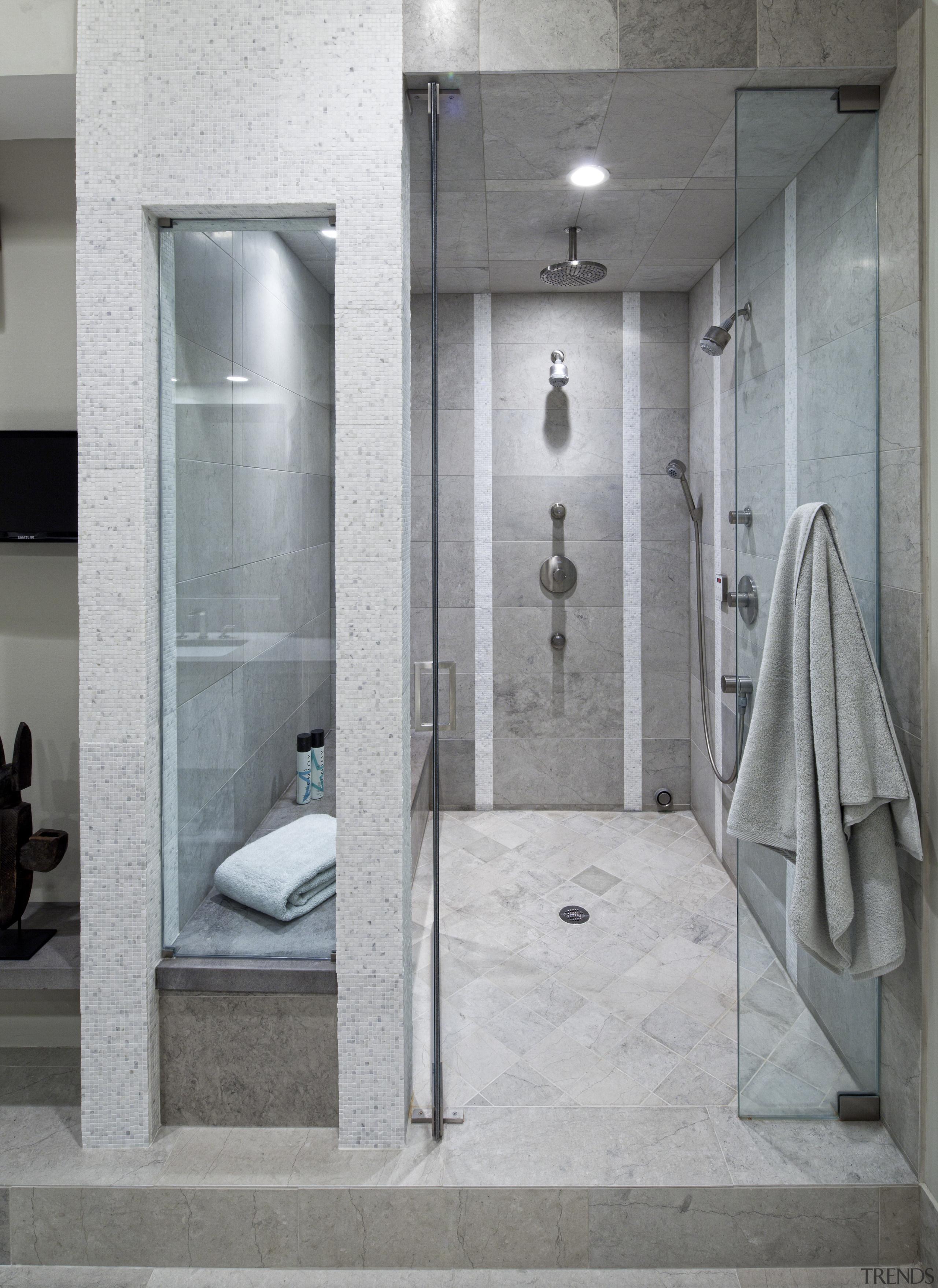 To add interest to this new shower area, bathroom, floor, interior design, plumbing fixture, room, shower, tile, gray