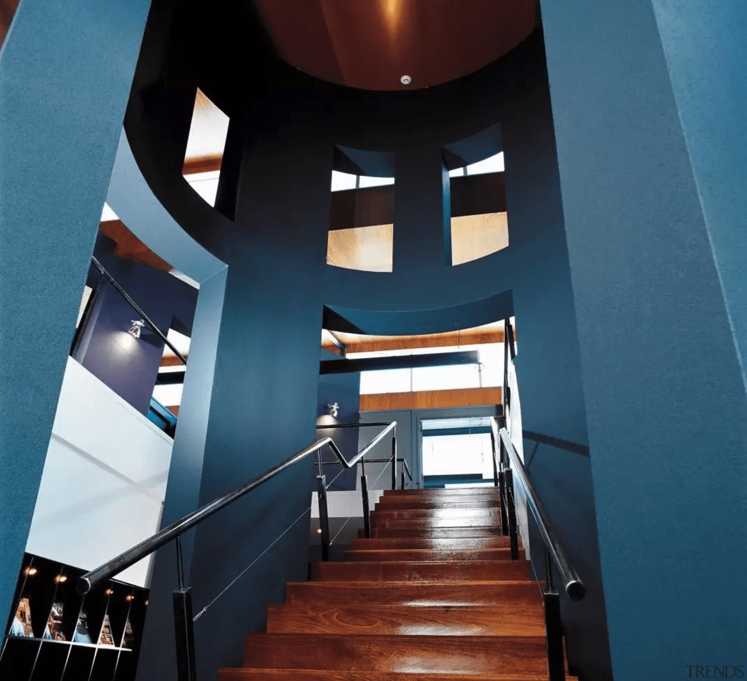 The foyer in the Annex - architecture | architecture, ceiling, daylighting, interior design, property, stairs, teal, black