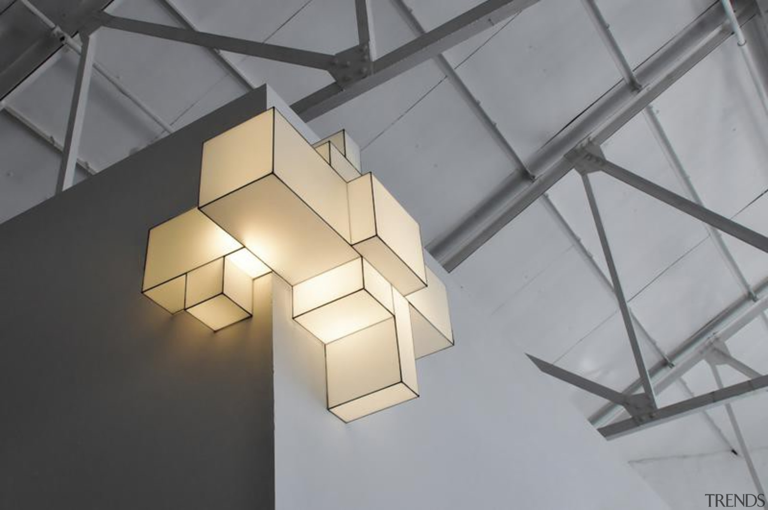 These clean-lined lampshades elegantly merge sculpture and illumination.What architecture, ceiling, daylighting, lampshade, light, light fixture, lighting, lighting accessory, product design, structure, gray