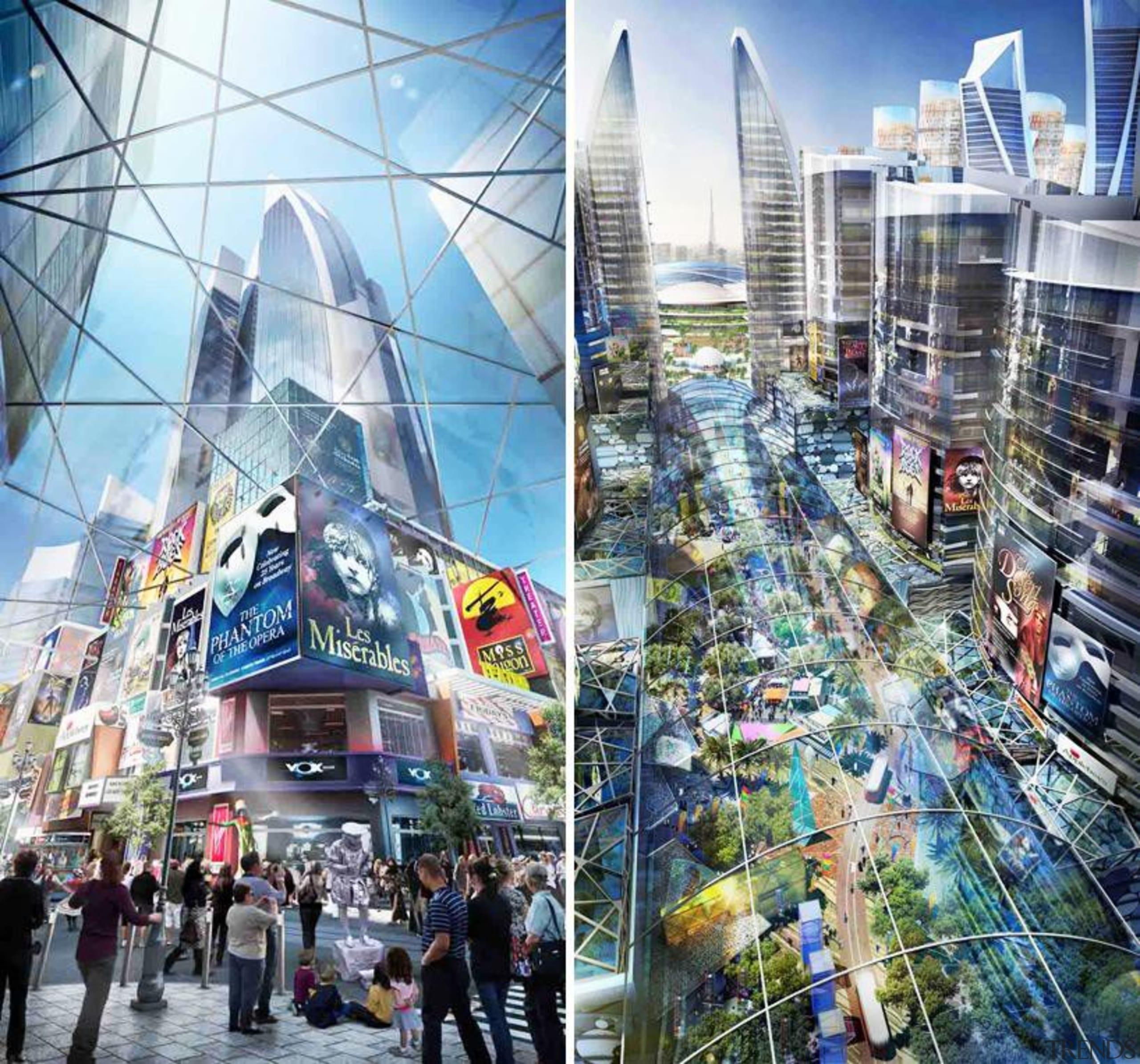 Although titled 'Mall of The World' this 48 building, city, cityscape, landmark, metropolis, metropolitan area, mixed use, skyscraper, tourist attraction, urban area, gray, white