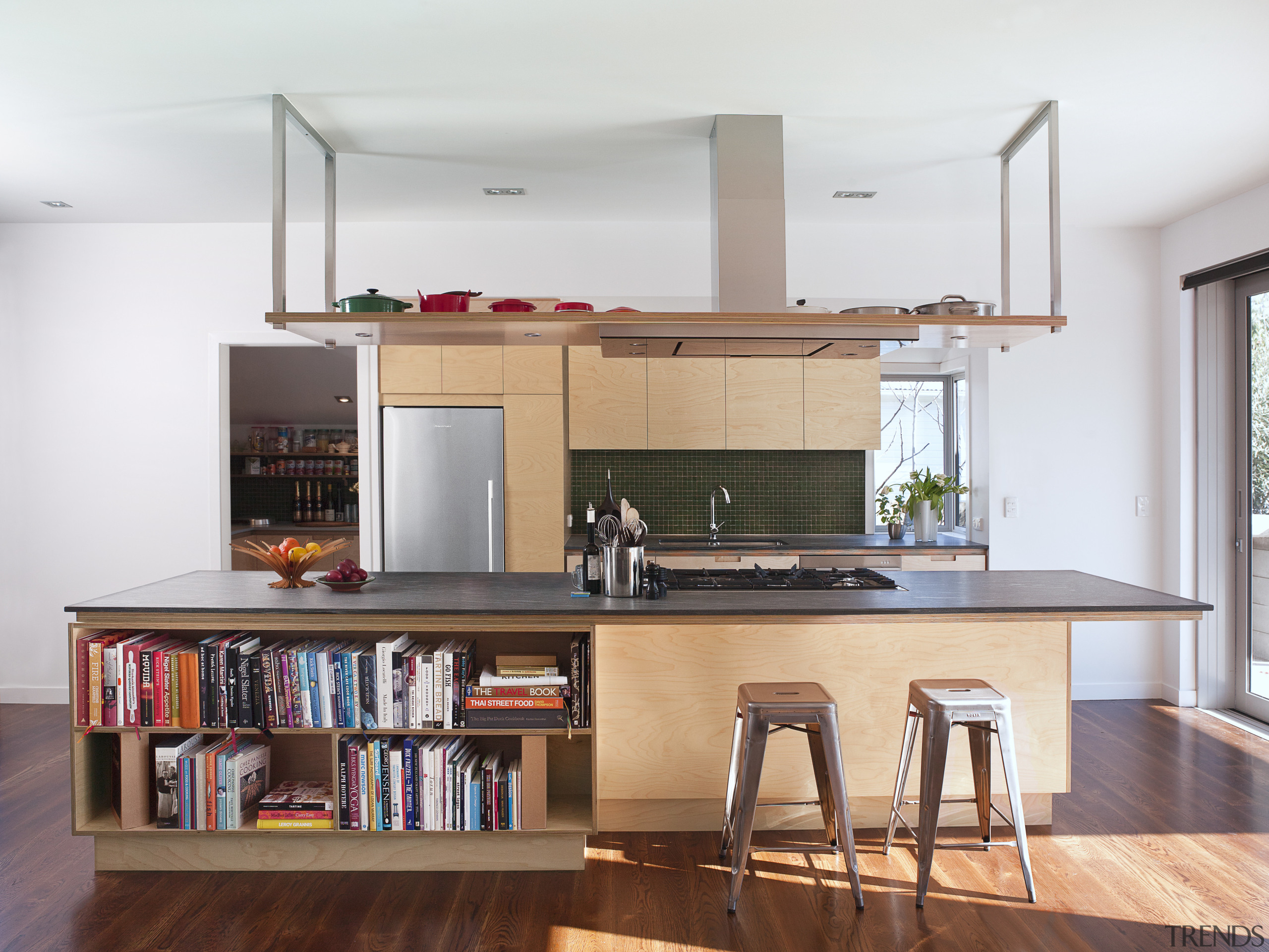 From a warm, long-grain birch design, to a cabinetry, countertop, furniture, interior design, kitchen, shelf, shelving, white