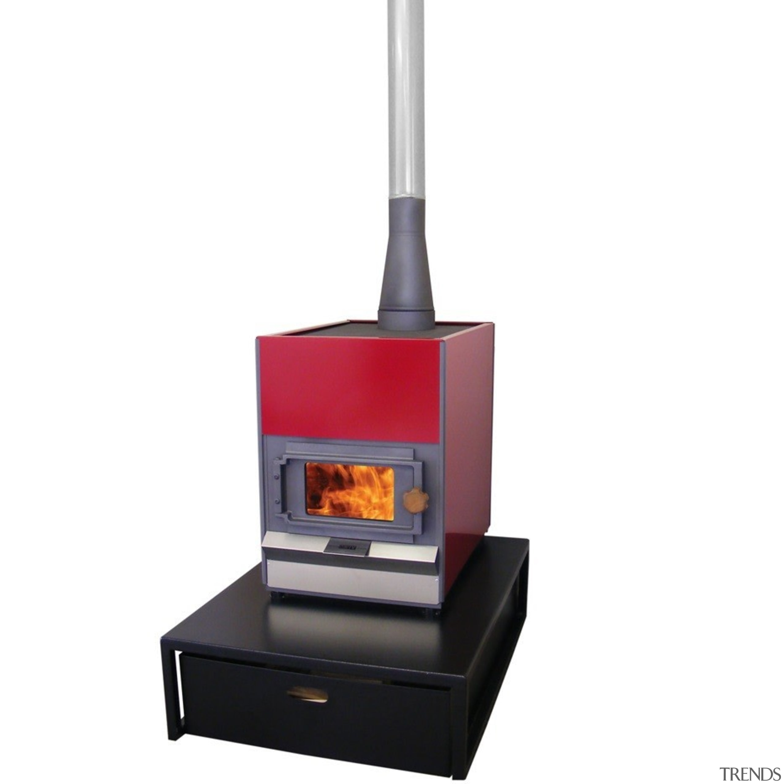 Pyroclassic IV on a large raised hearth and product, white