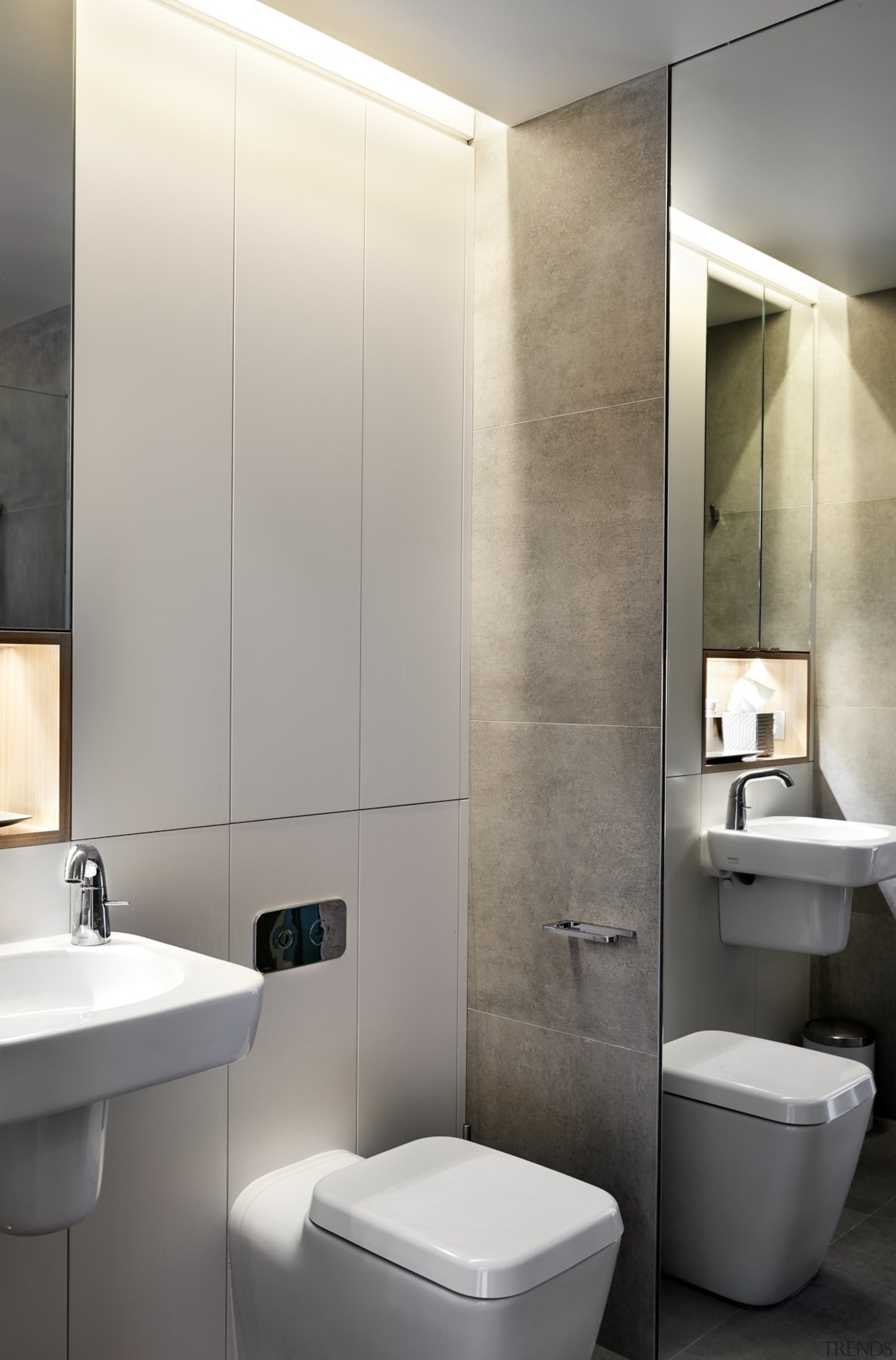 The bathroom features recessed lighting – like the bathroom, bathroom accessory, bathroom cabinet, bidet, floor, interior design, plumbing fixture, product design, sink, tap, toilet, toilet seat, wall, gray