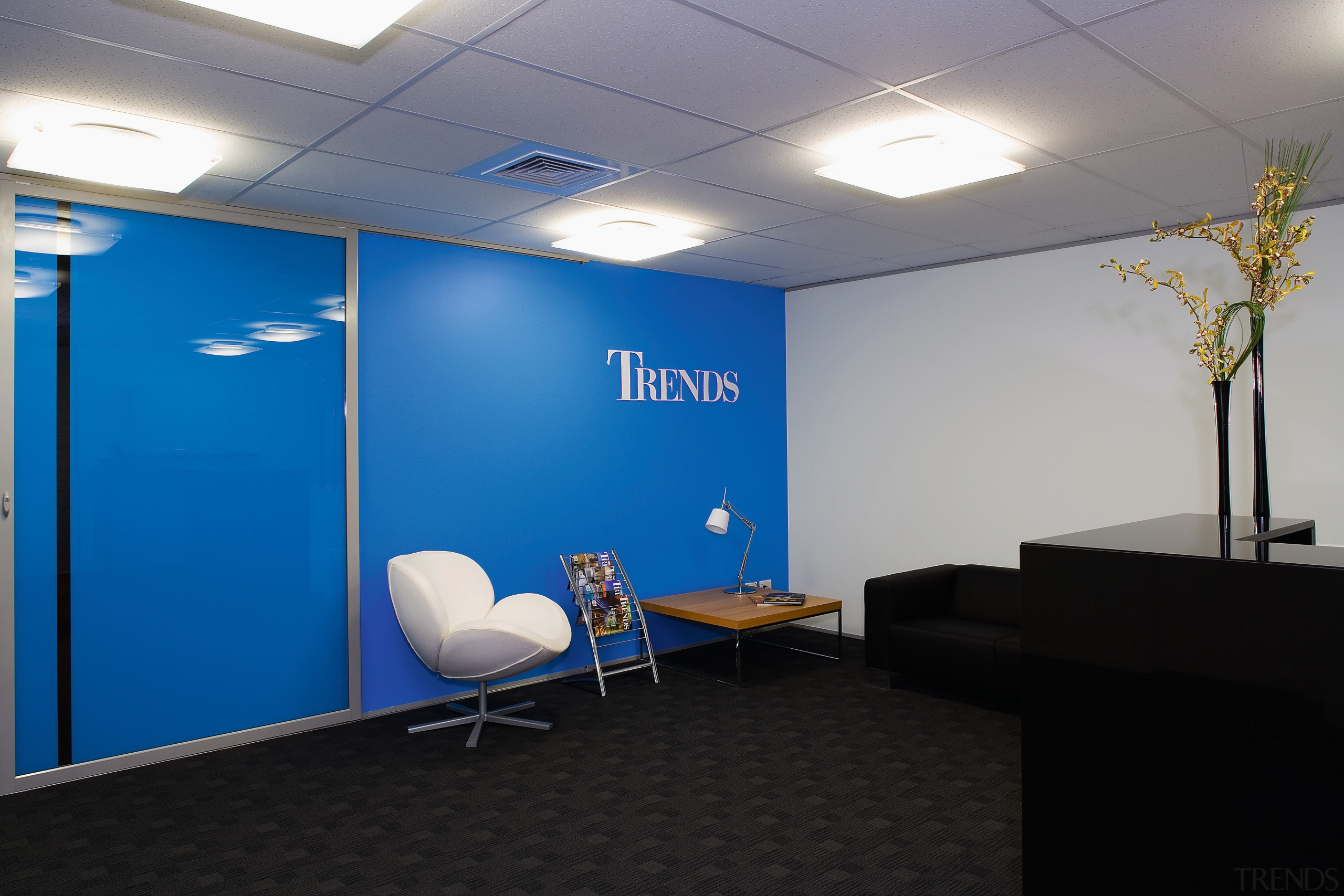 A view of the Trends Building. - A blue, ceiling, conference hall, interior design, office, gray, black