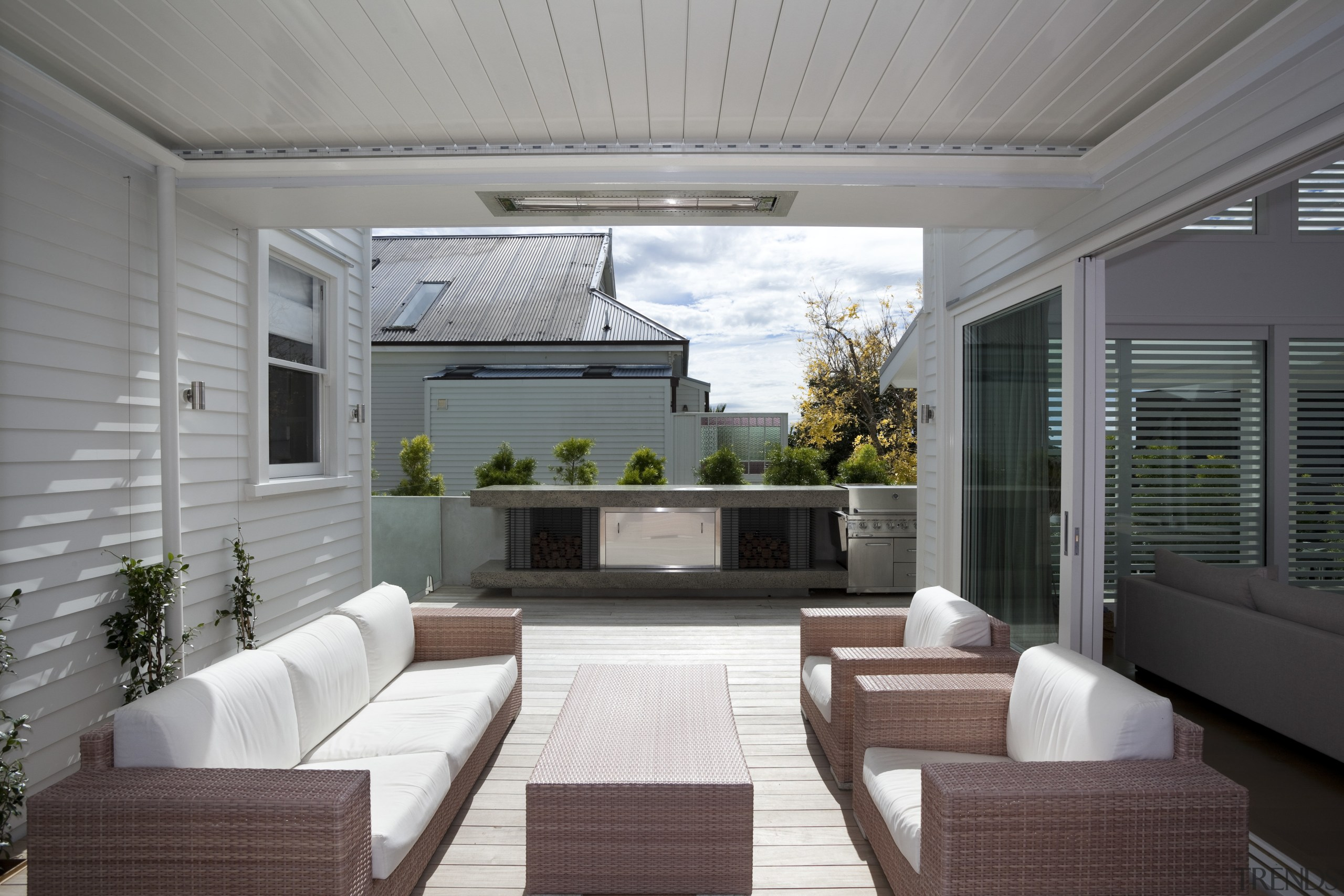 An outdoor room with operable louvres and overhead daylighting, deck, house, interior design, living room, outdoor structure, patio, real estate, window, gray