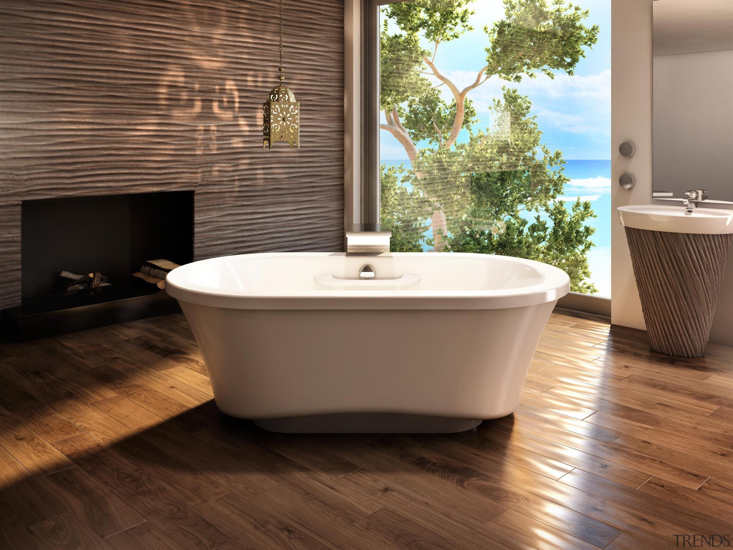 The Amma freestanding with narrow base is designed bathroom, bathtub, ceramic, floor, flooring, hardwood, interior design, plumbing fixture, product design, tile, wood, wood flooring, brown