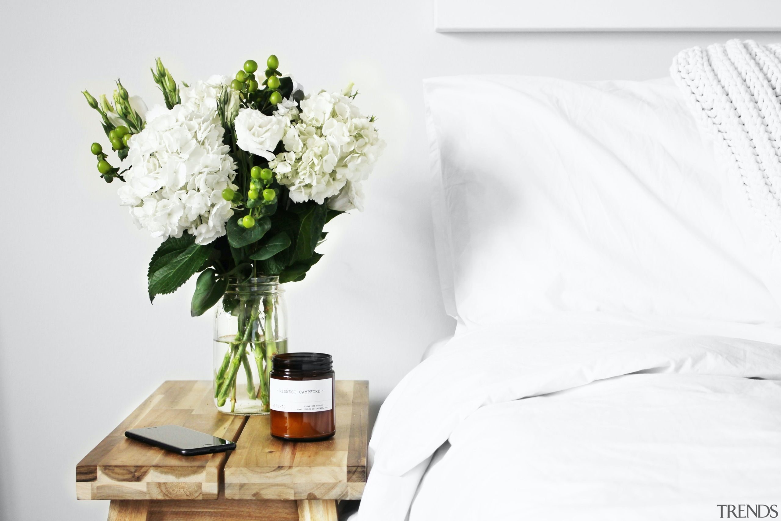 Flowers on bedside table -