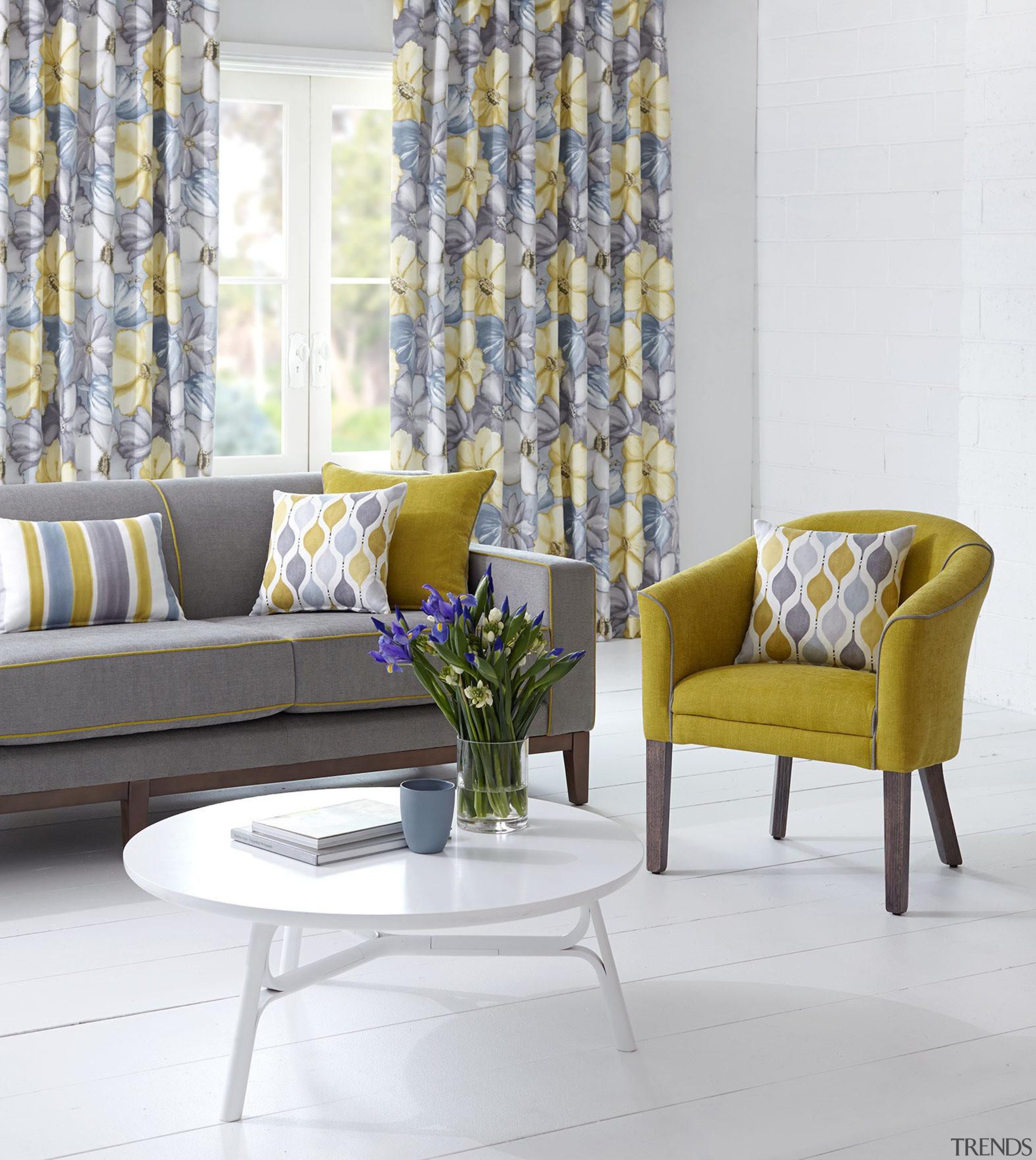 Kristina Collection - Kristina Collection - chair | chair, coffee table, couch, curtain, furniture, home, interior design, living room, loveseat, table, window, window covering, window treatment, yellow, white