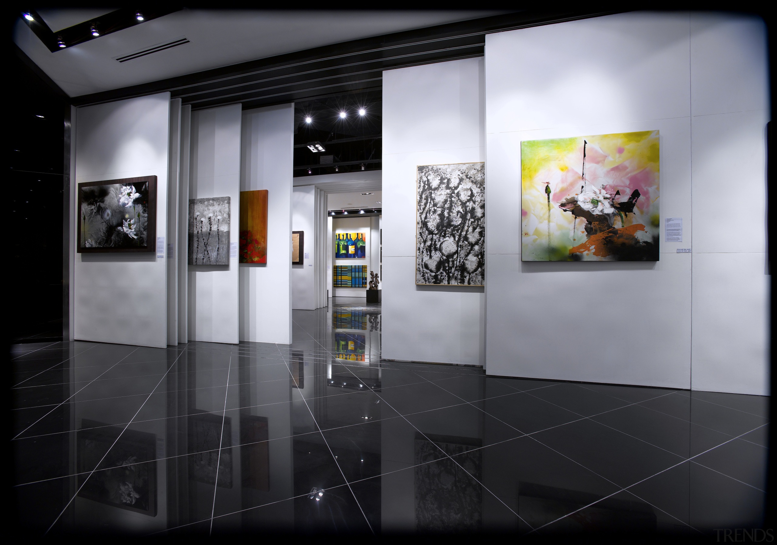 Interior view of the Art Gallery by Designworx, art exhibition, art gallery, exhibition, black, gray