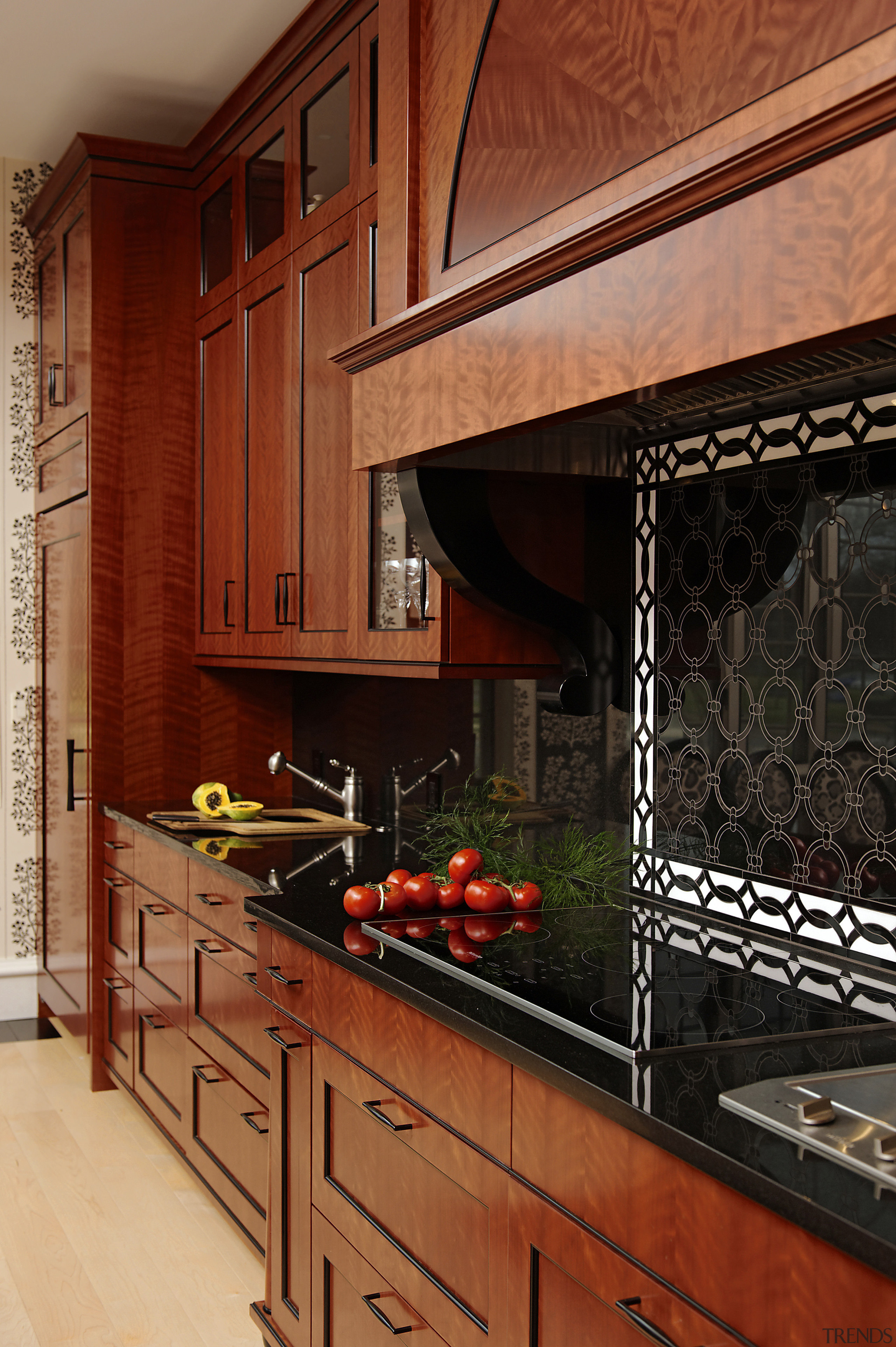 Perimeter counters in black granite complement the red cabinetry, countertop, cuisine classique, home, interior design, kitchen, room, under cabinet lighting, red