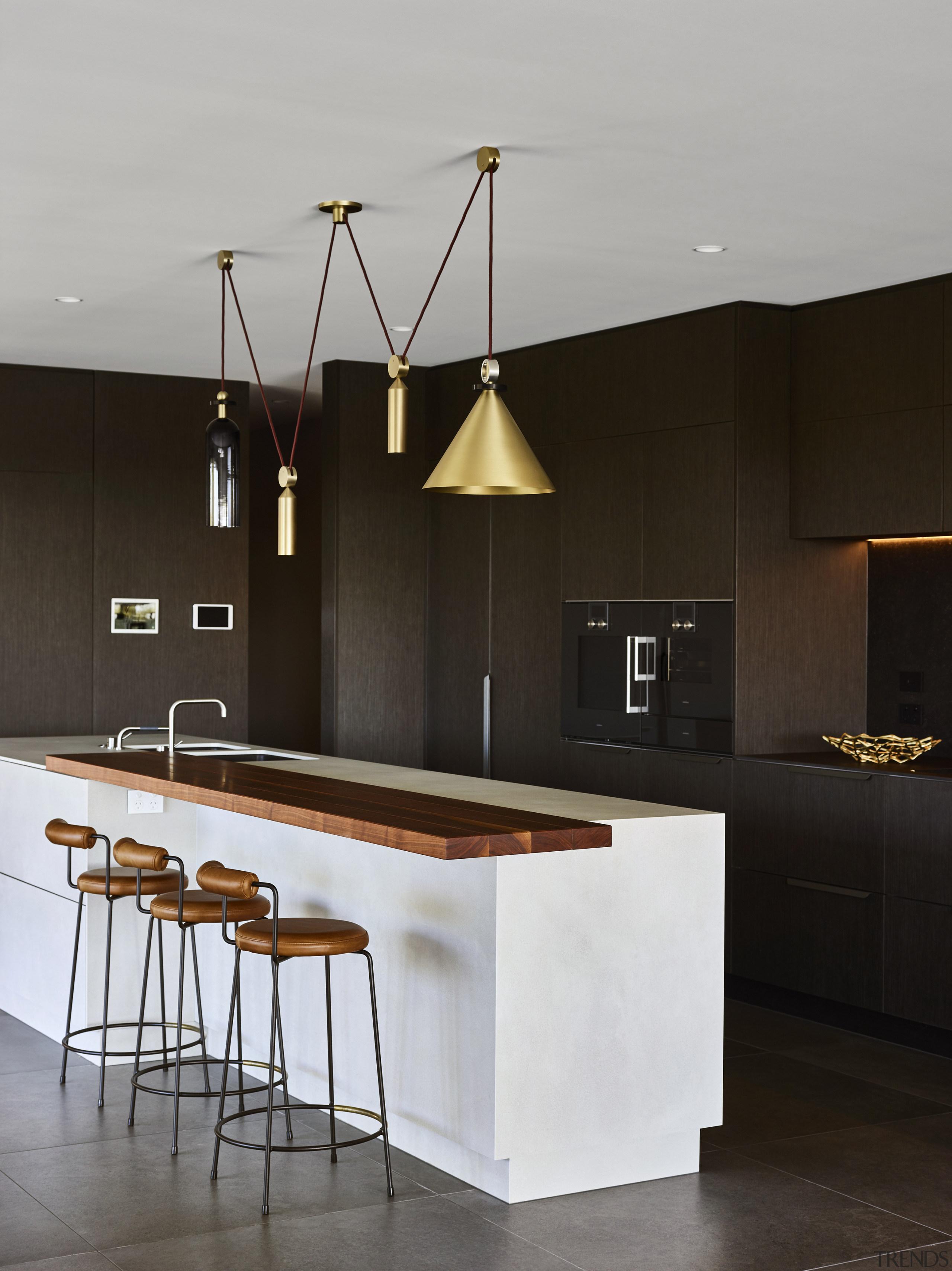 Apt companions – a counter-weighted lighting fixture shines architecture, bar stool, countertop, design, furniture, kitchen, light fixture, lighting, Darren James, Brass Lighting