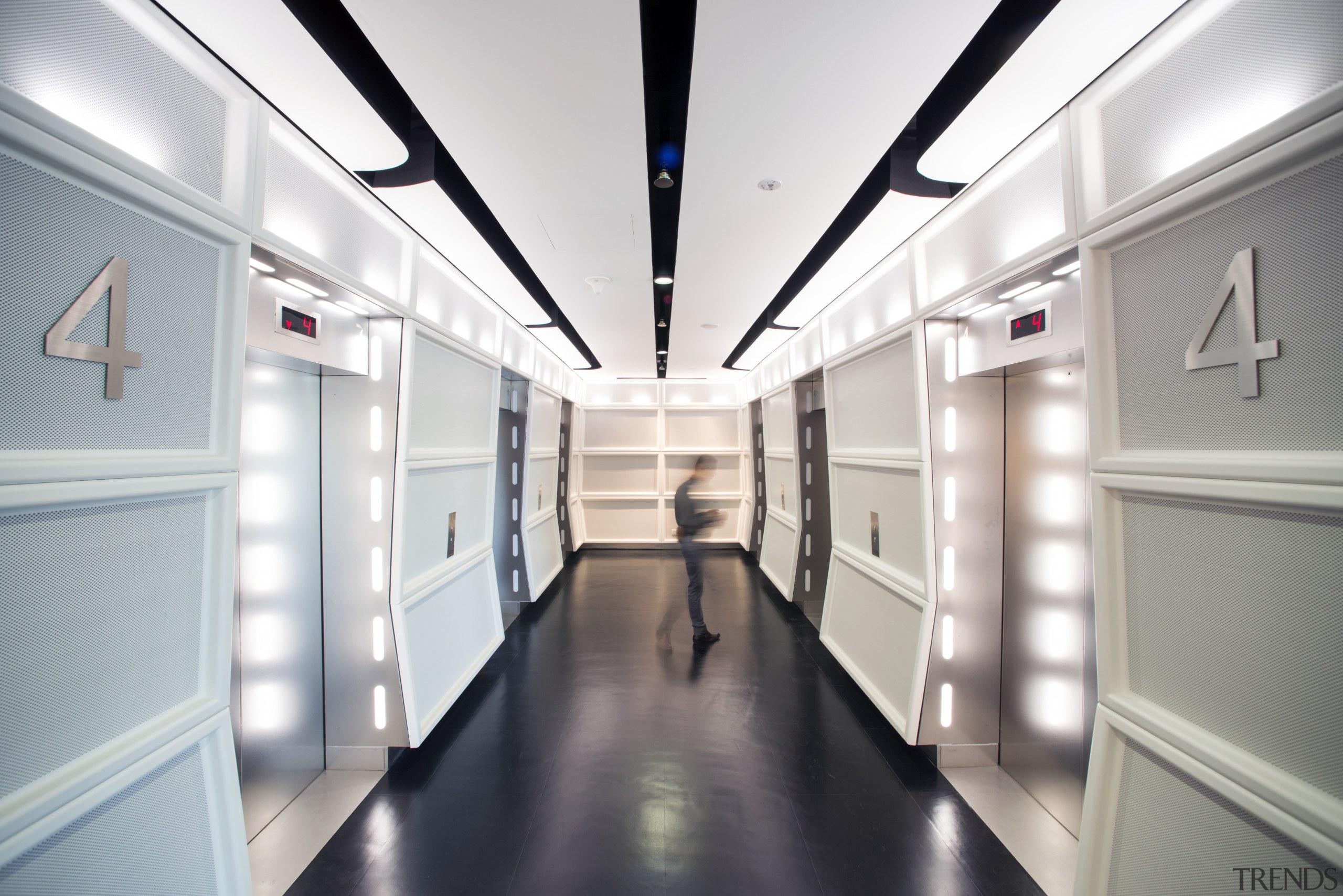 The futuristic interior of the new Sandcrawler building interior design, white, gray
