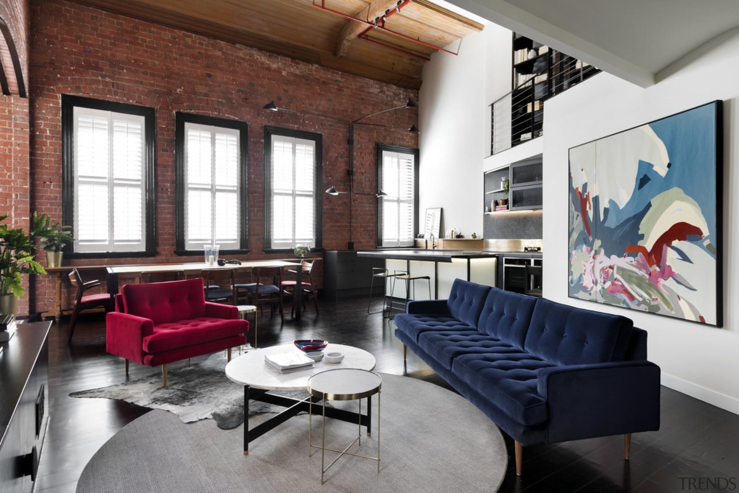 You can easily move from the lounge furniture, interior design, living room, loft, table, white