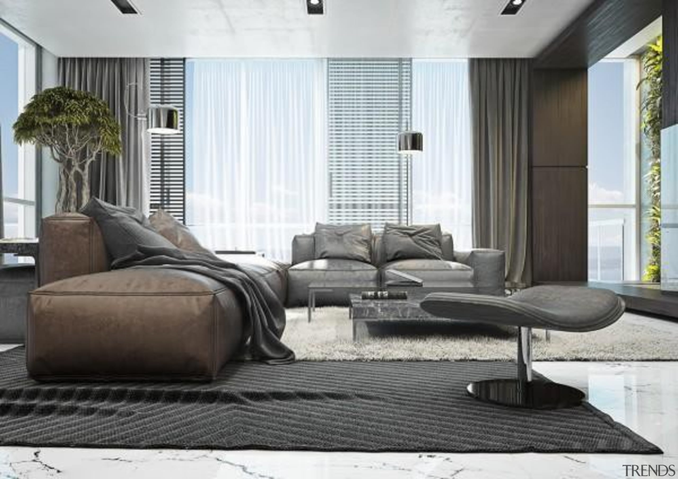 dark design ideas - Masculine Apartments - chair chair, couch, floor, furniture, home, interior design, living room, loveseat, table, window, white, black, gray