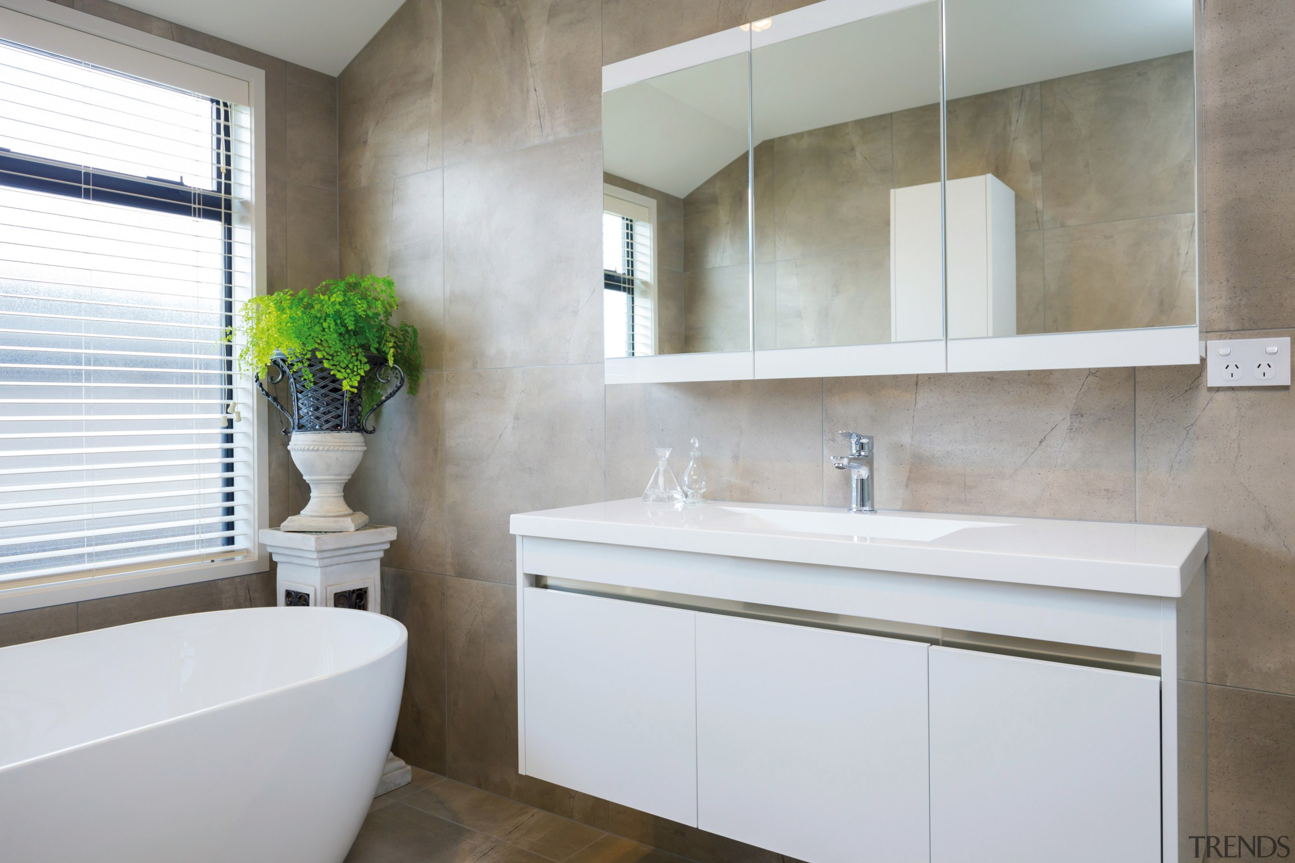 The main bathroom in this GJ Gardner showhome has ... | Trends