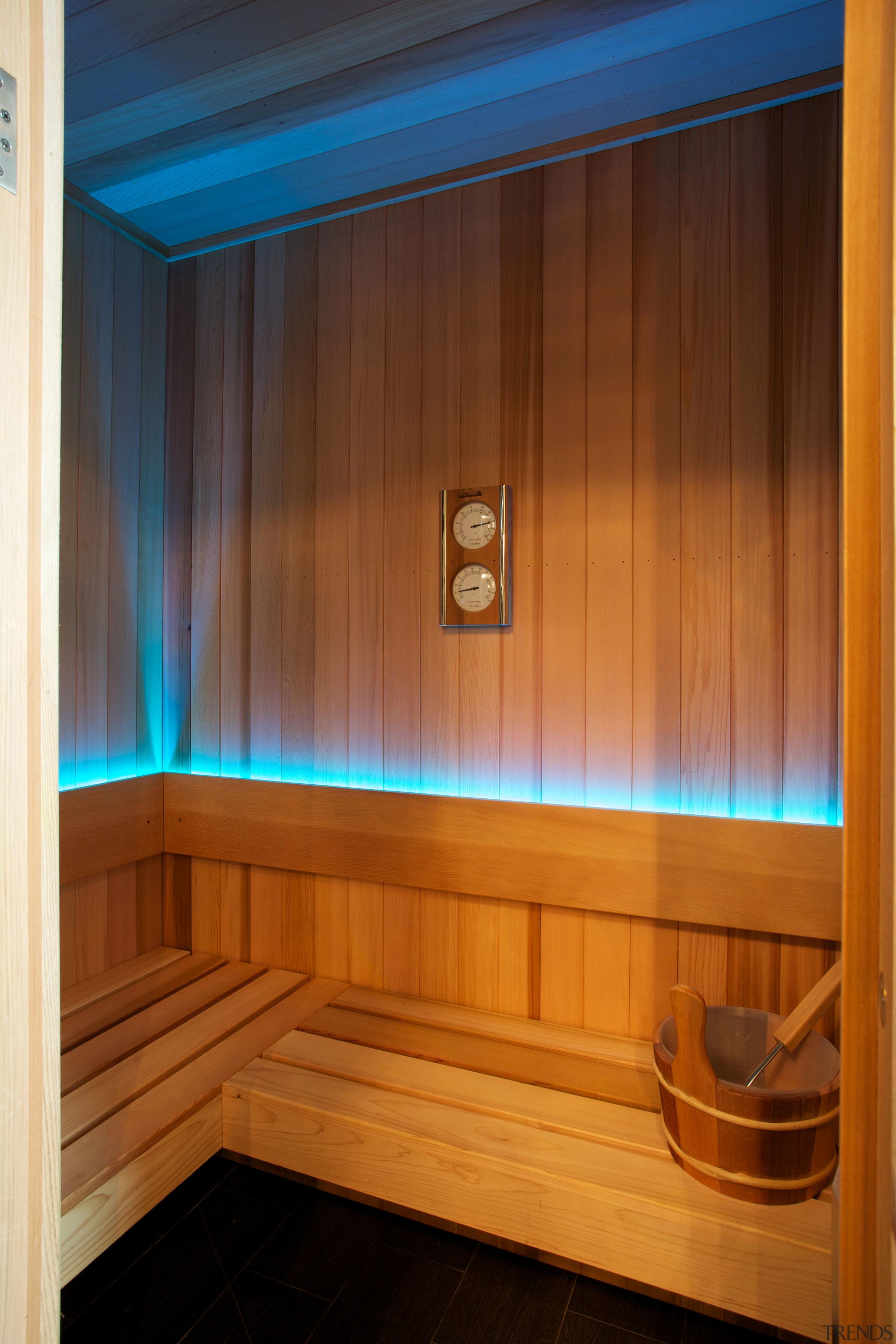 A cedar-lined sauna room, with LED lighting is interior design, lighting, sauna, wood, wood stain, brown