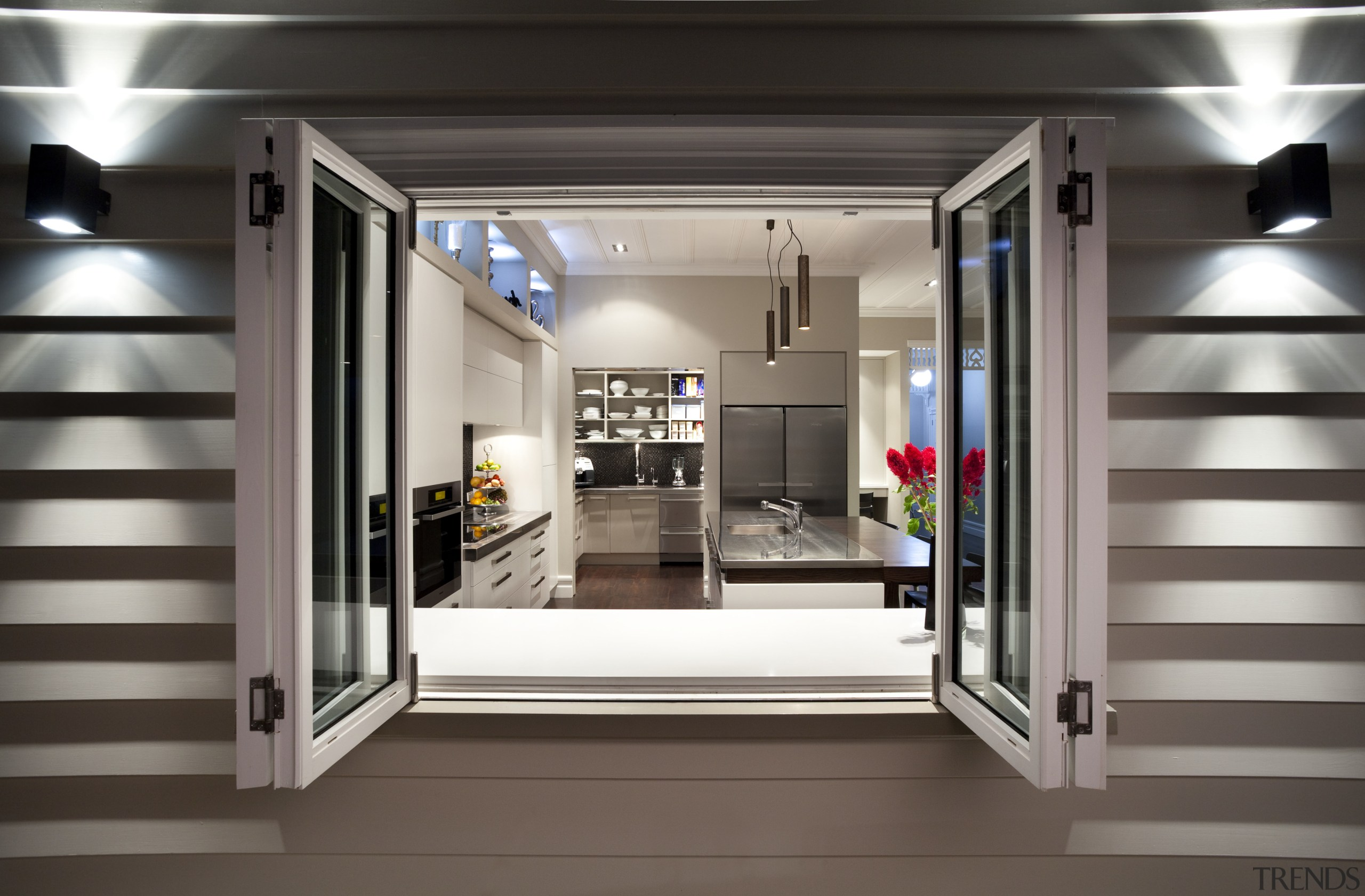 view of kitchen through window from outside - interior design, gray, black