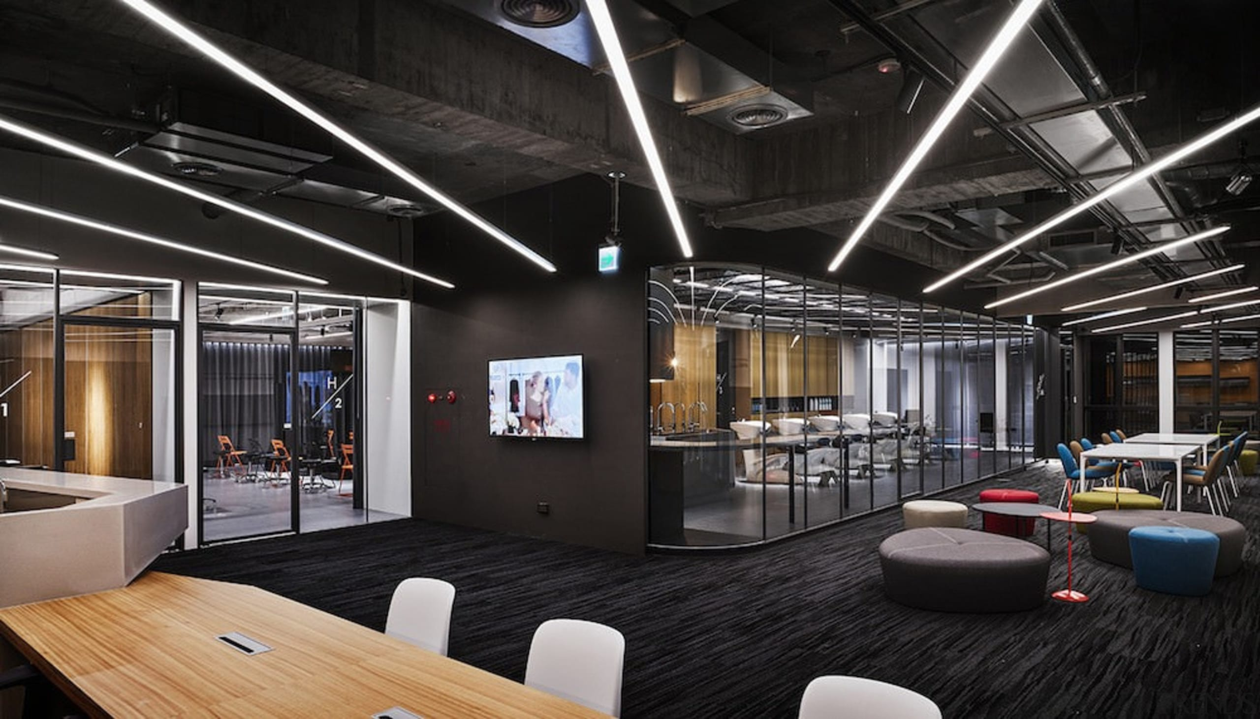 H Academy – Shi-Chieh Lu/CJ Studio - H ceiling, interior design, black