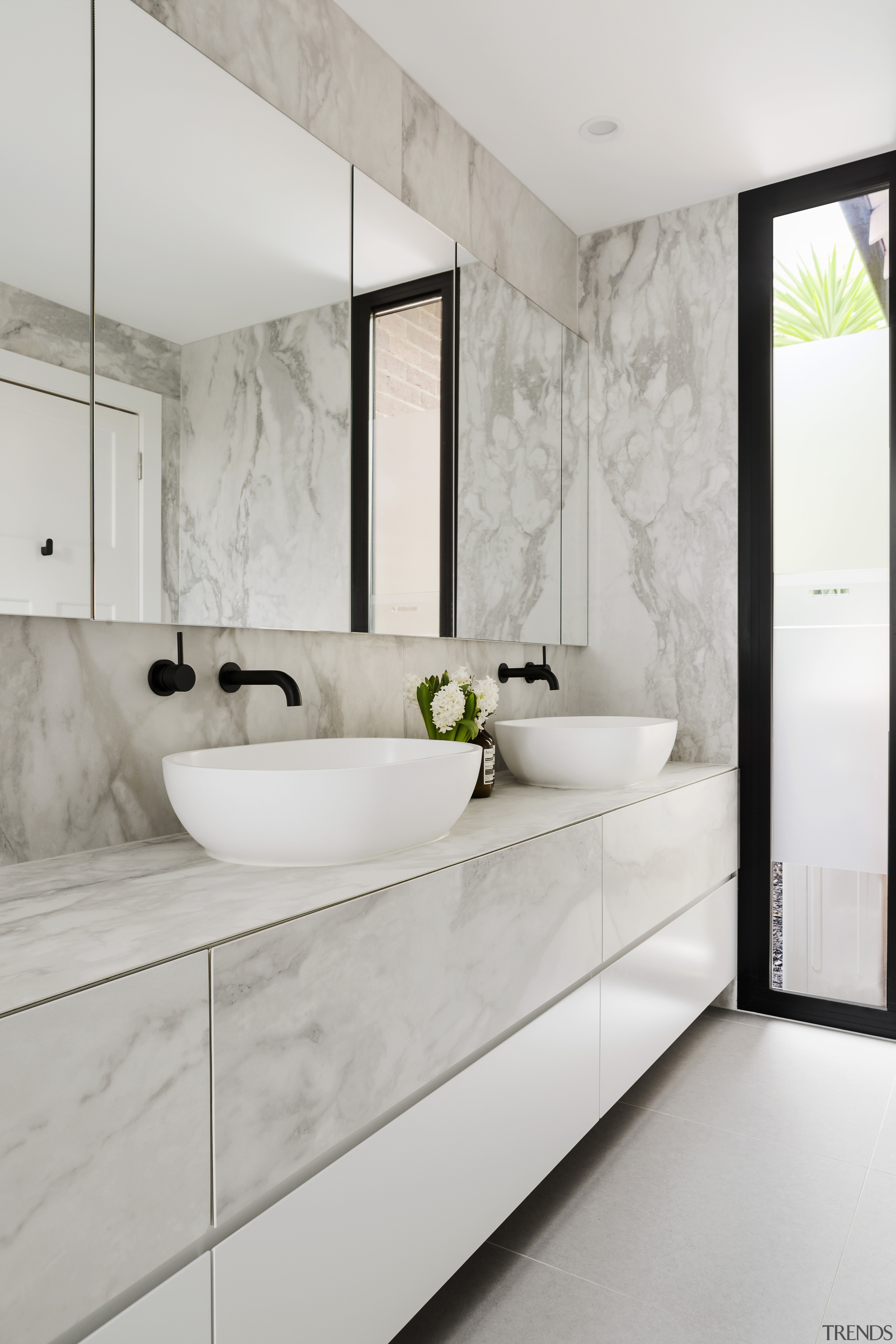 Bathroom designed by architect Linda Simmons – see bathroom, countertop, floor, home, interior design, room, sink, tap, tile, gray
