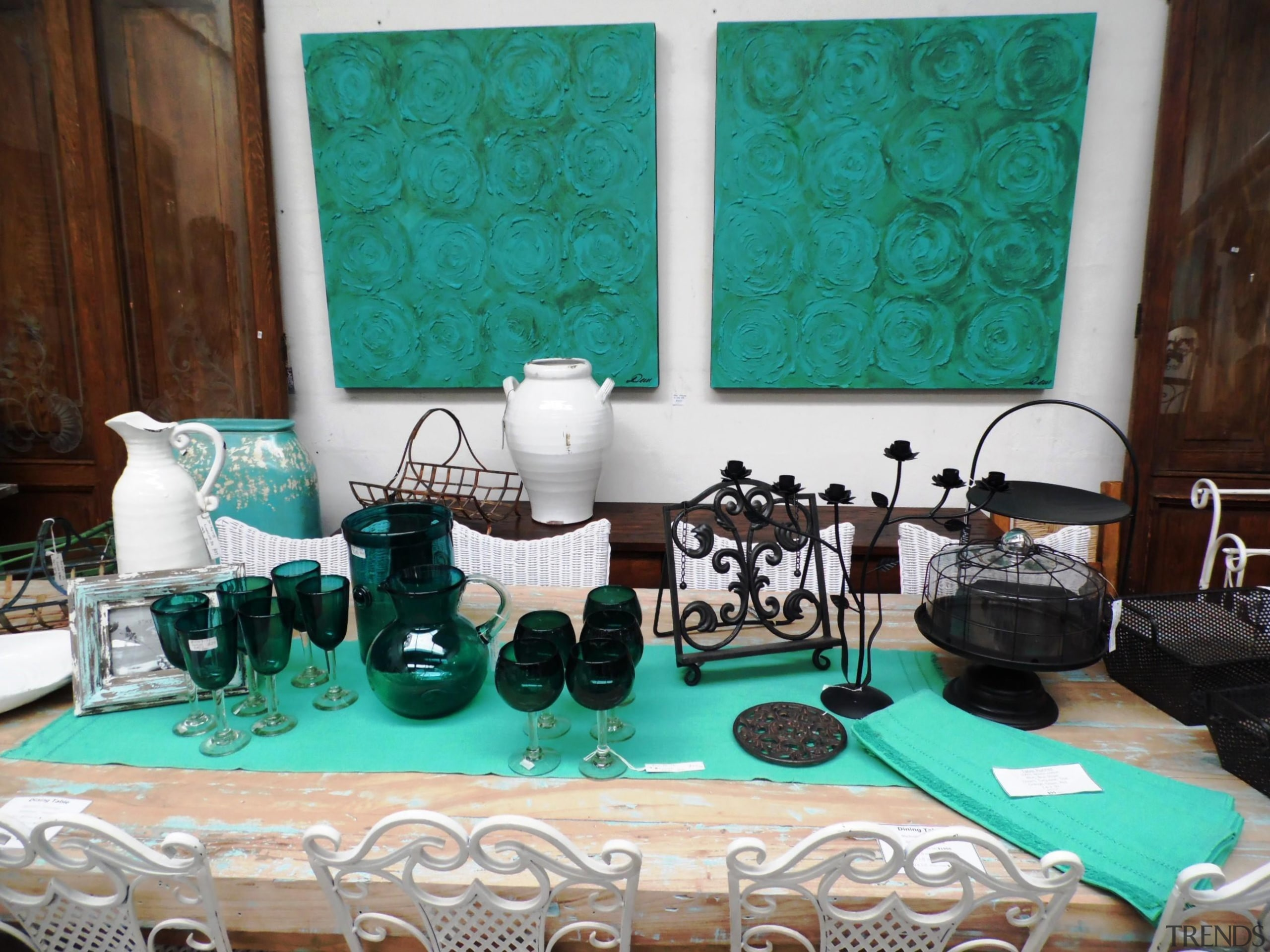 One of our favourite spreads, this combination of green, product, table, teal