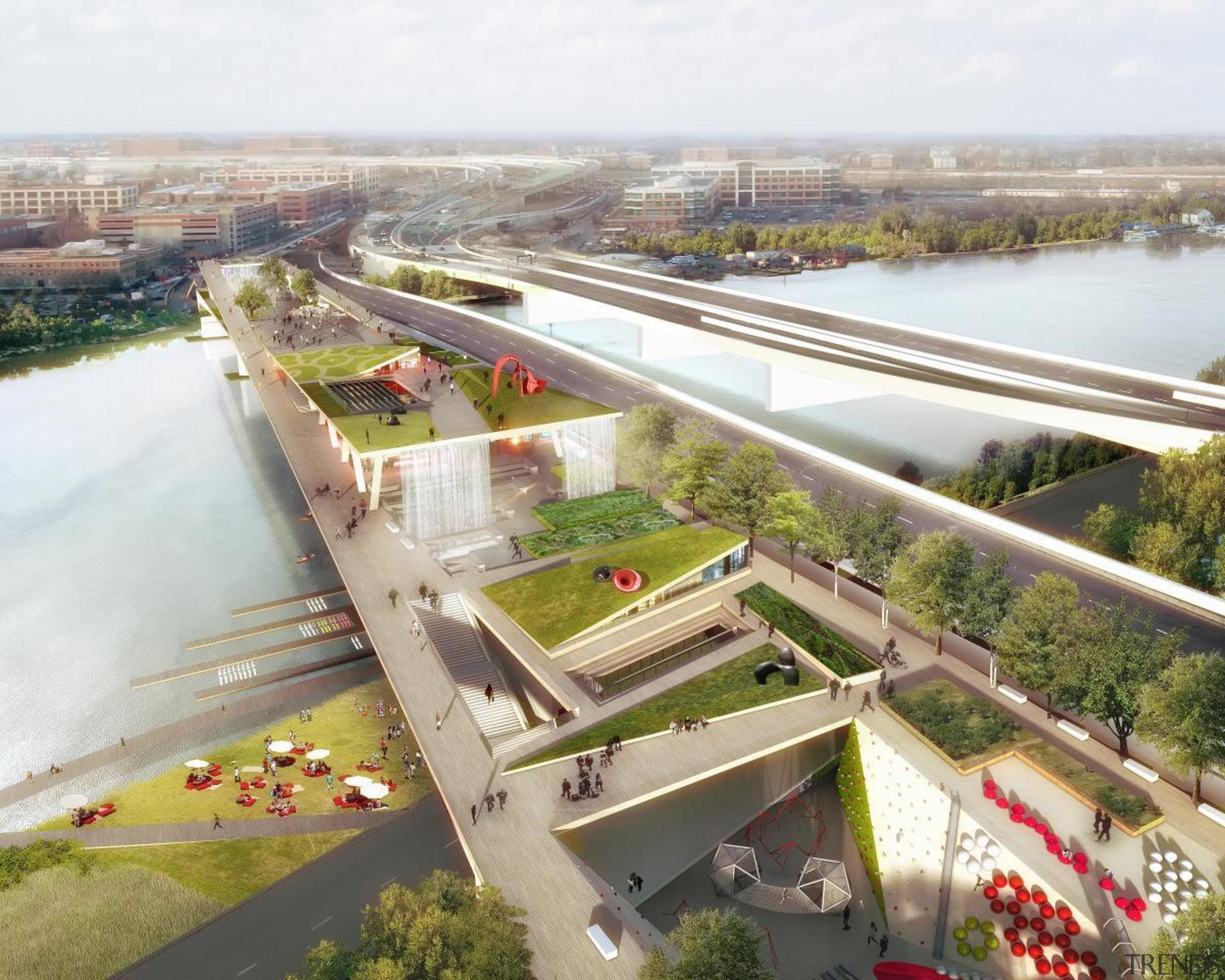 High line park - High line park - bird's eye view, suburb, urban design, waterway, white, gray