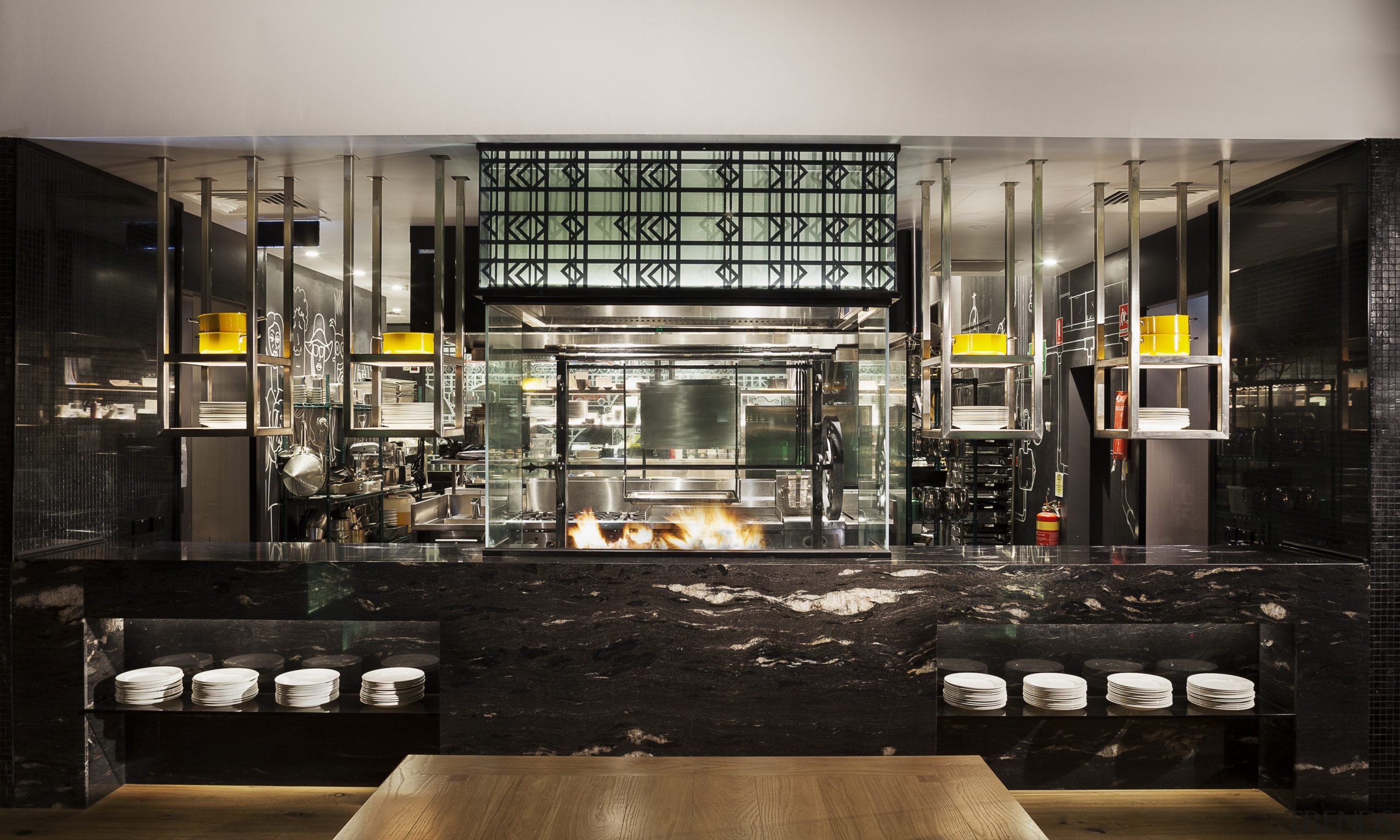 The open kitchen in the new DoubleTree by black, gray