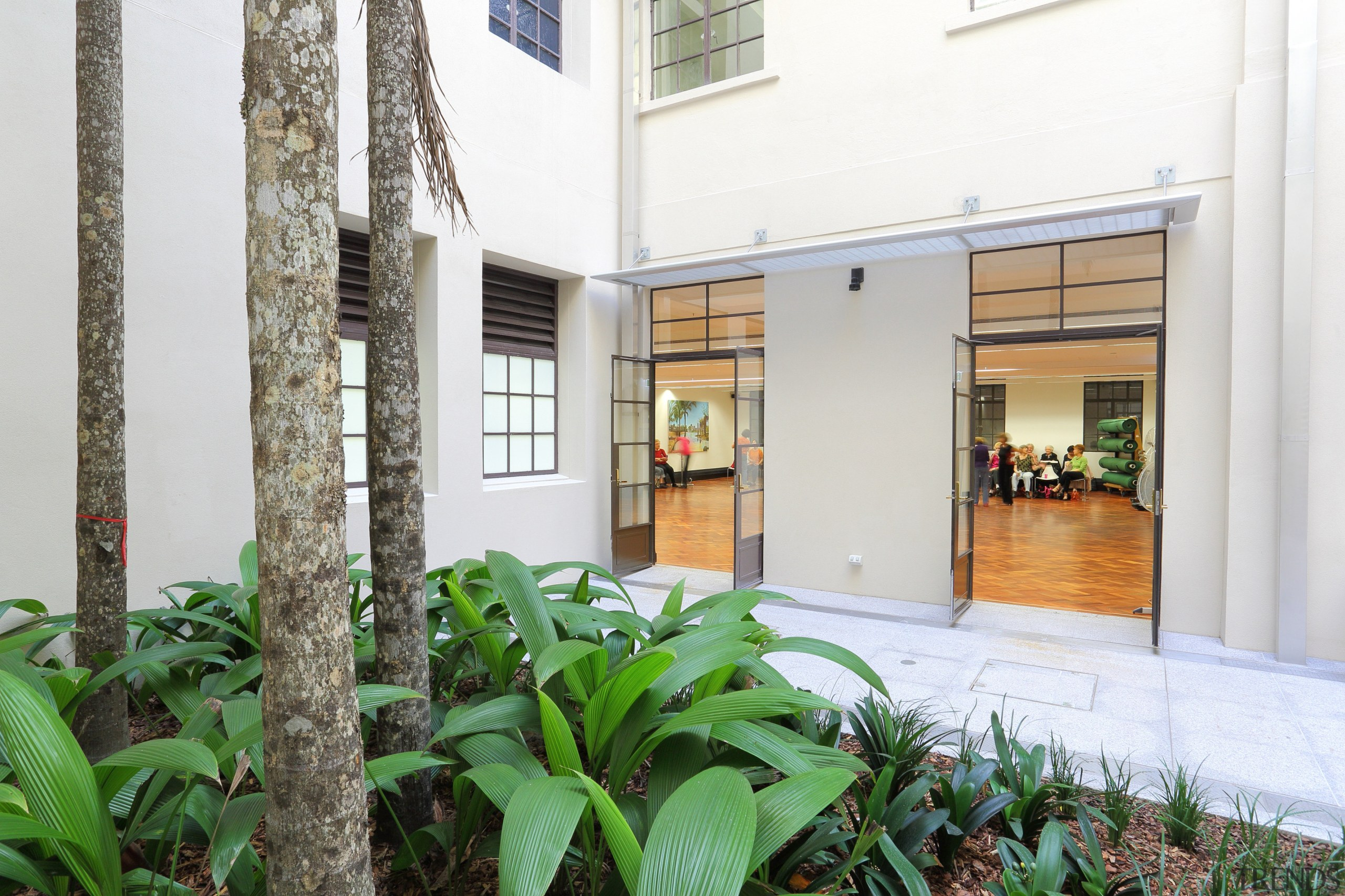 As part of the renovation and update of apartment, courtyard, facade, house, property, real estate, window, white