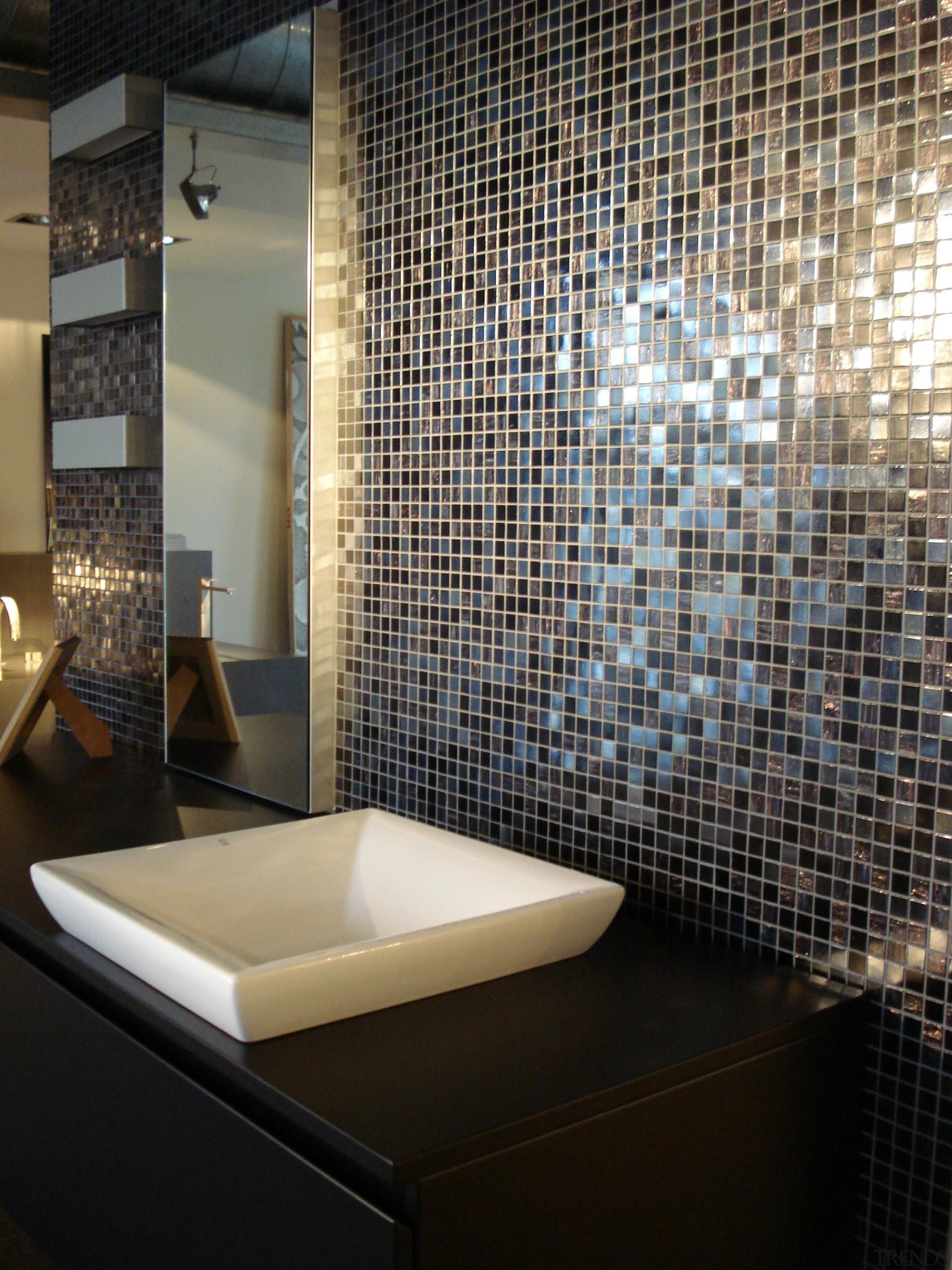 Iside feature wall. - Bisazza Range - architecture architecture, bathroom, ceiling, floor, flooring, glass, interior design, room, tile, wall, black, gray