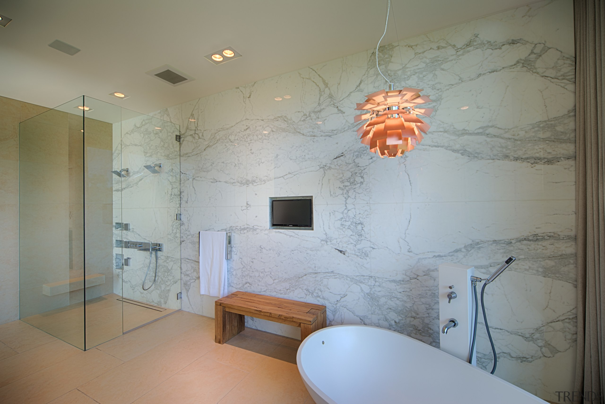 Bookmatched Calacatta marble lines the far wall of architecture, bathroom, ceiling, floor, flooring, home, interior design, room, tile, wall, gray