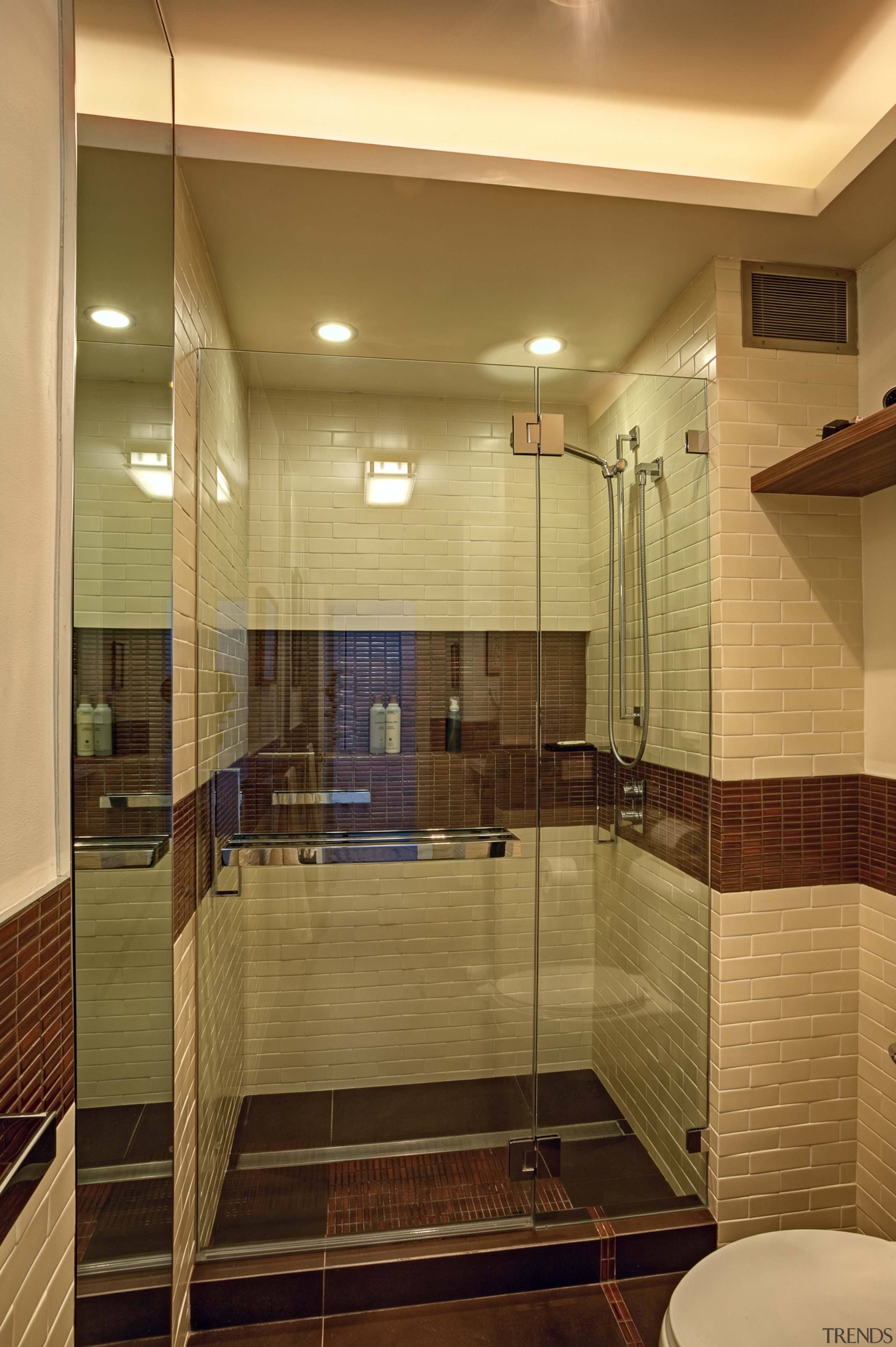 Craftsman-style tilework creates visual interest in this wheelchair-friendly architecture, bathroom, ceiling, estate, floor, flooring, glass, home, interior design, room, tile, wood, brown, orange