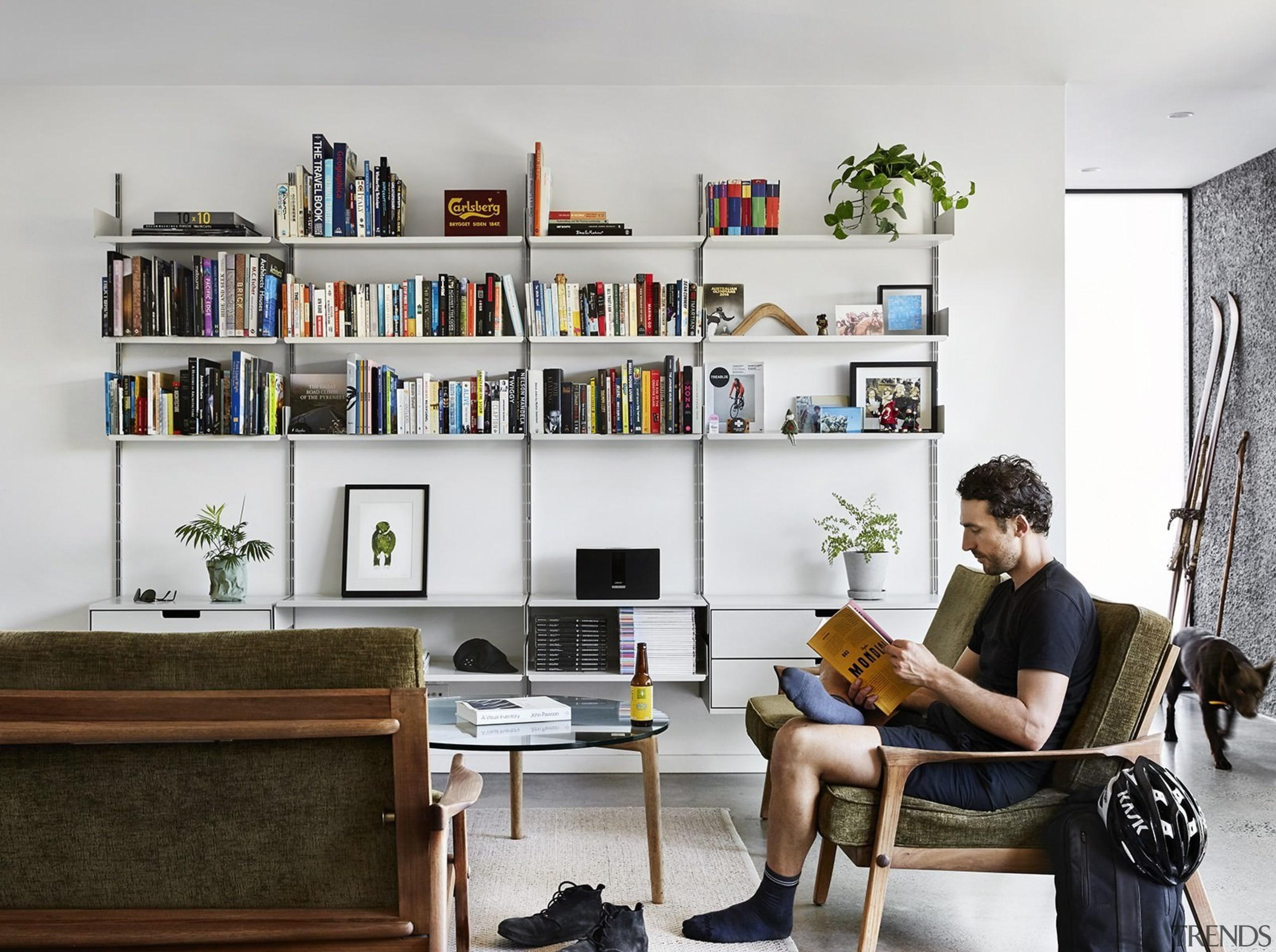 Architect: Liam WallisPhotography by Tess Kelly bookcase, furniture, interior design, living room, shelf, shelving, white