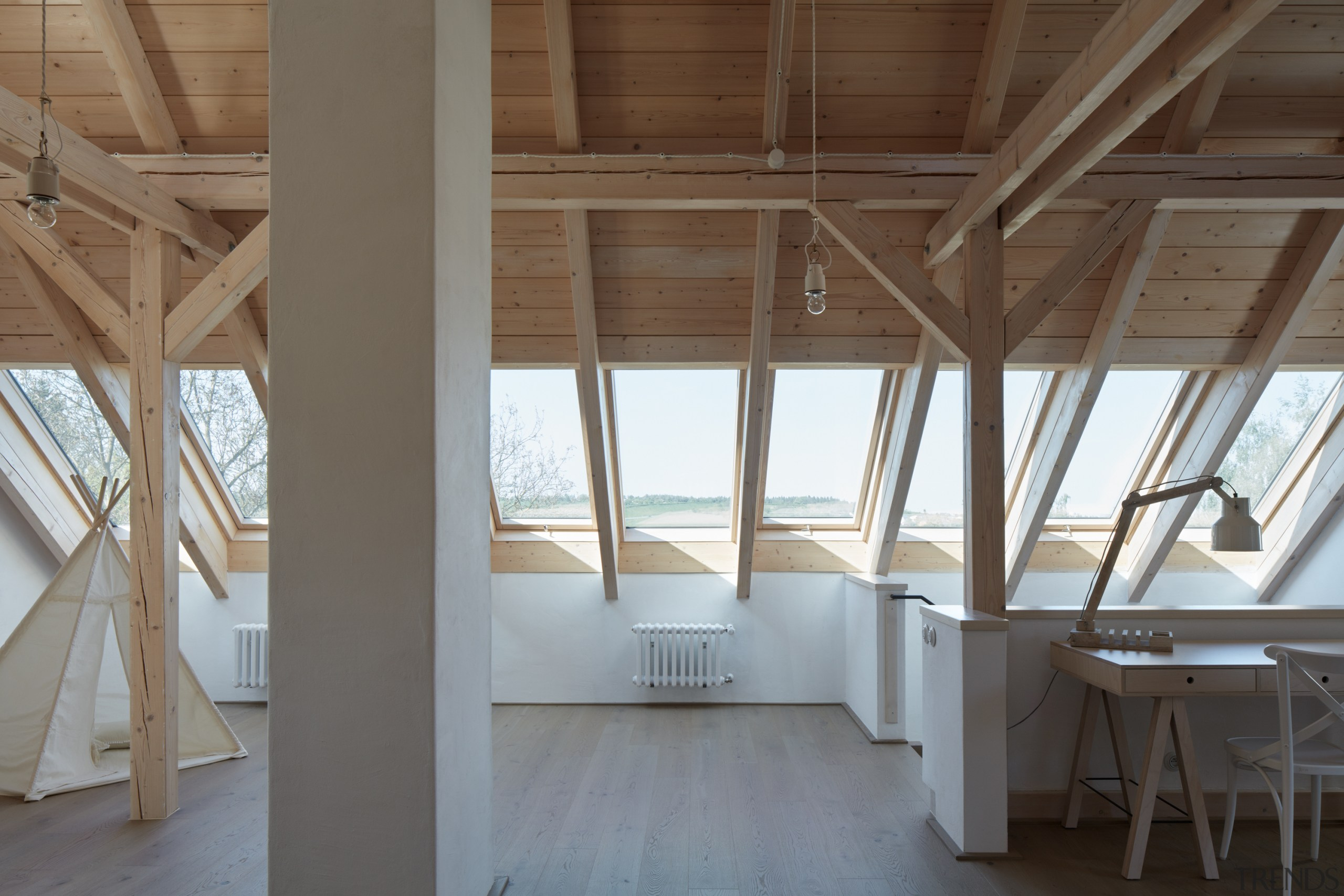 The home's attic space is complete with great