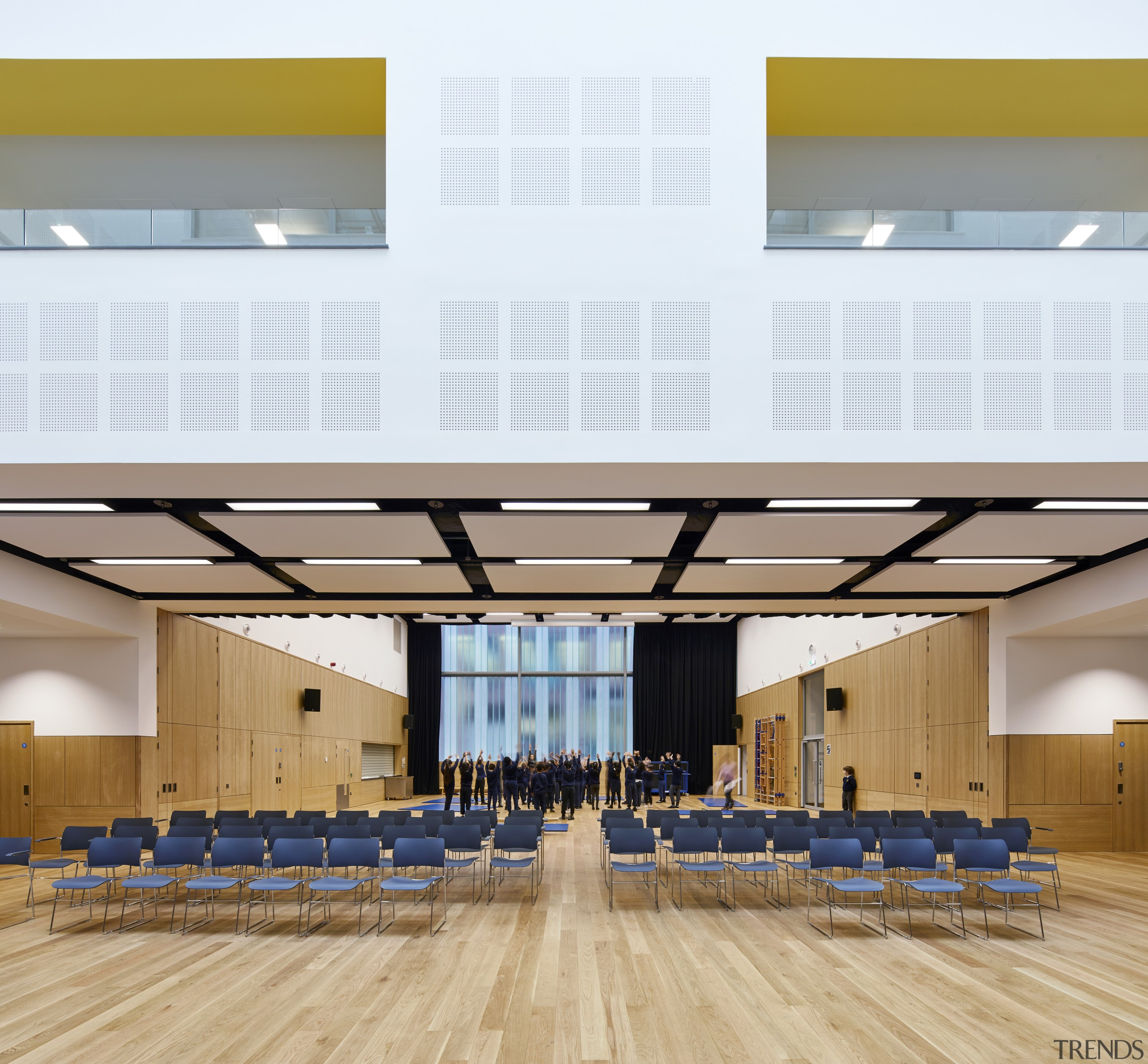A retractable partition separating the two dynamic hall architecture, auditorium, ceiling, classroom, conference hall, daylighting, function hall, interior design, leisure centre, line, structure, white