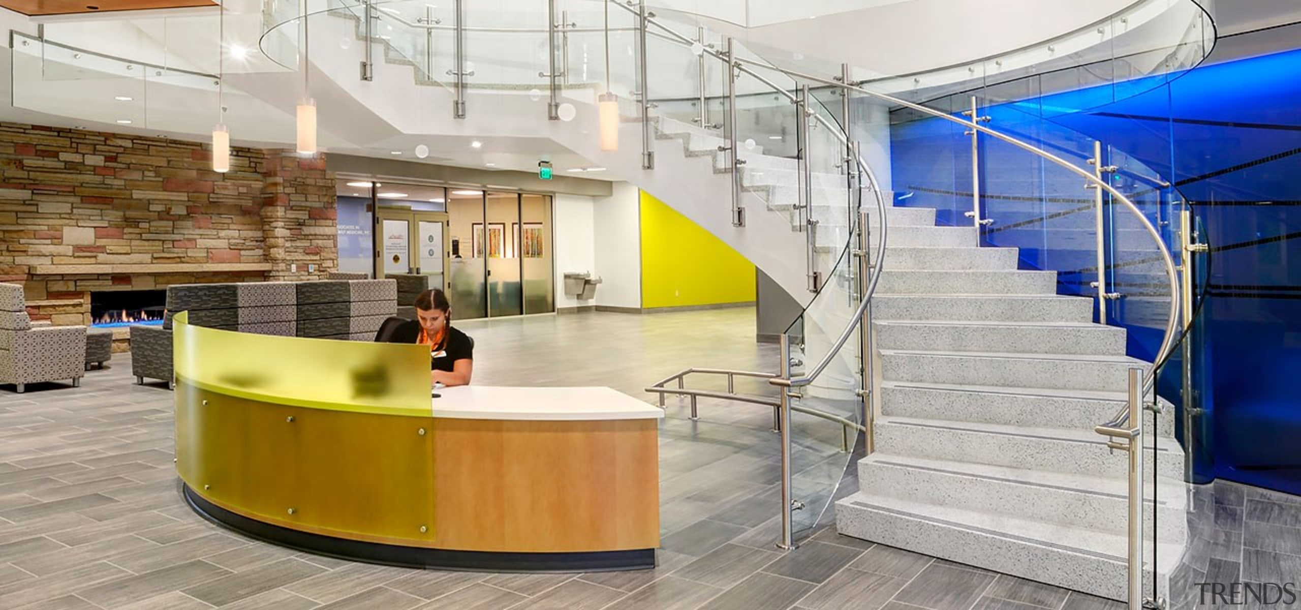Colorado State University - architecture | building | architecture, building, design, floor, flooring, interior design, lobby, office, stairs, gray