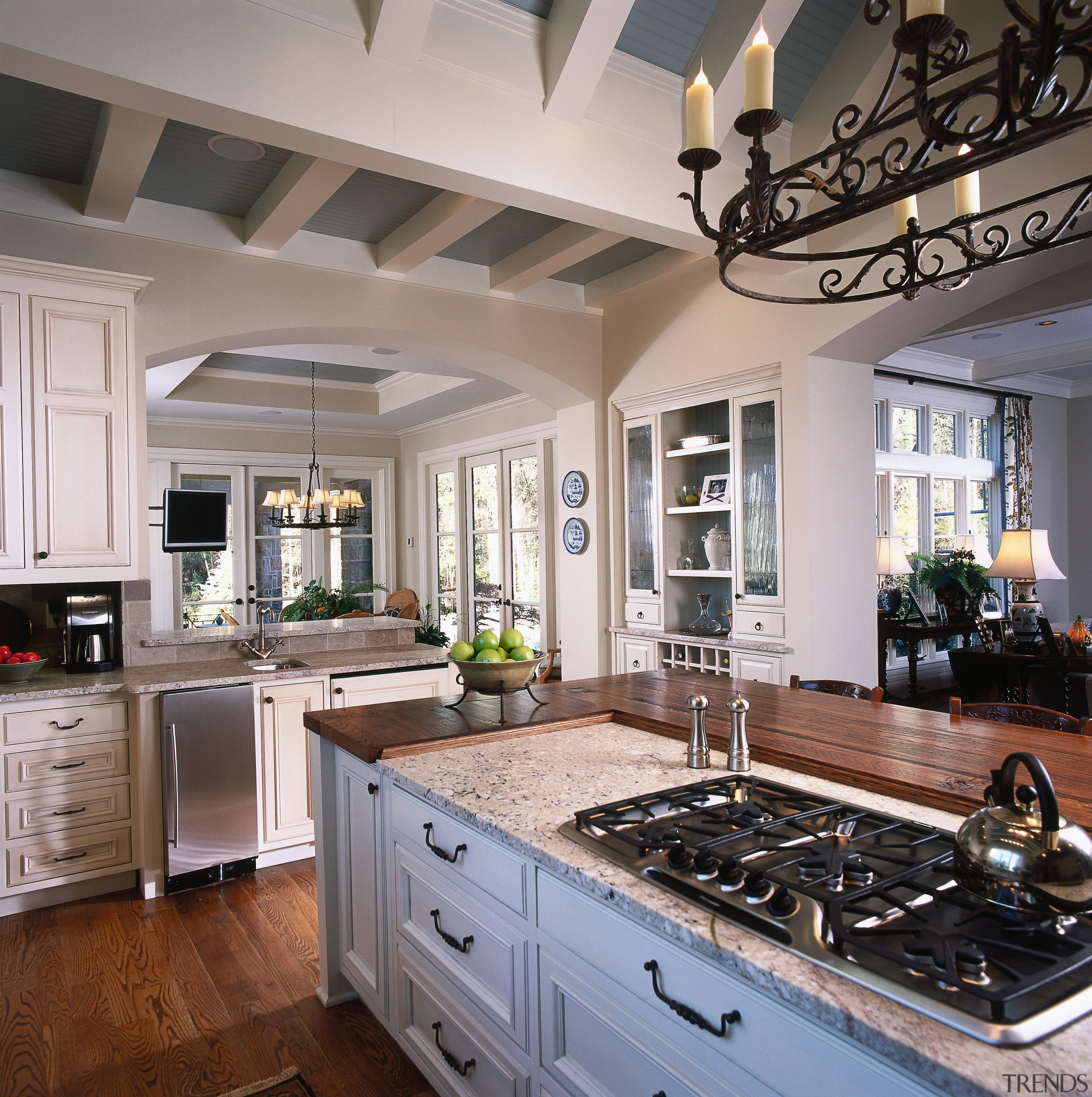 A view of the kitchen, wooden cabinetry and cabinetry, countertop, cuisine classique, home, interior design, kitchen, room, window, gray