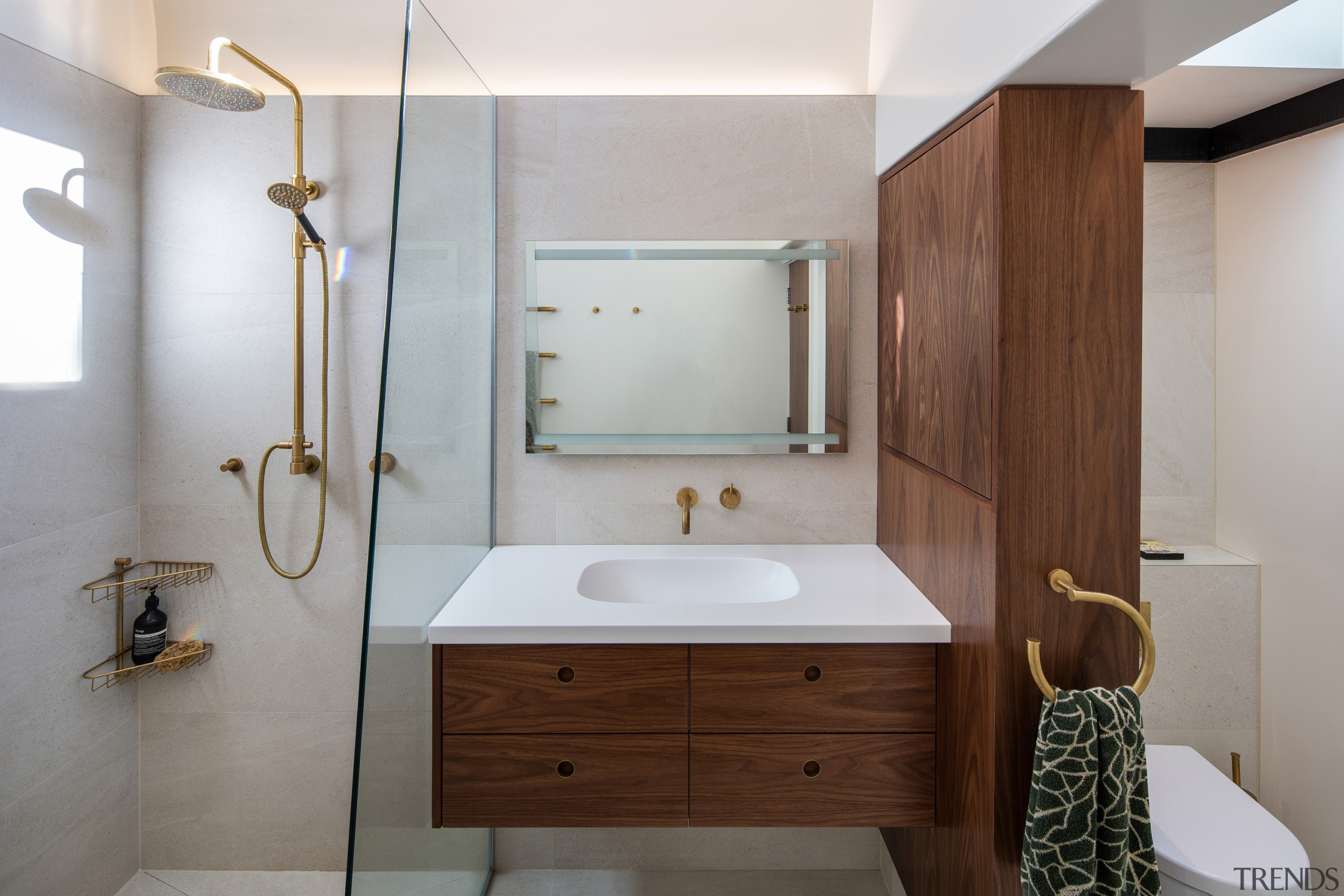 John Mills Architects – Highly Commended – 2019 architecture, bathroom, bathroom cabinet, building, ceiling, floor, furniture, hardwood, house, interior design, plumbing fixture, property, room, sink, tap, tile, gray