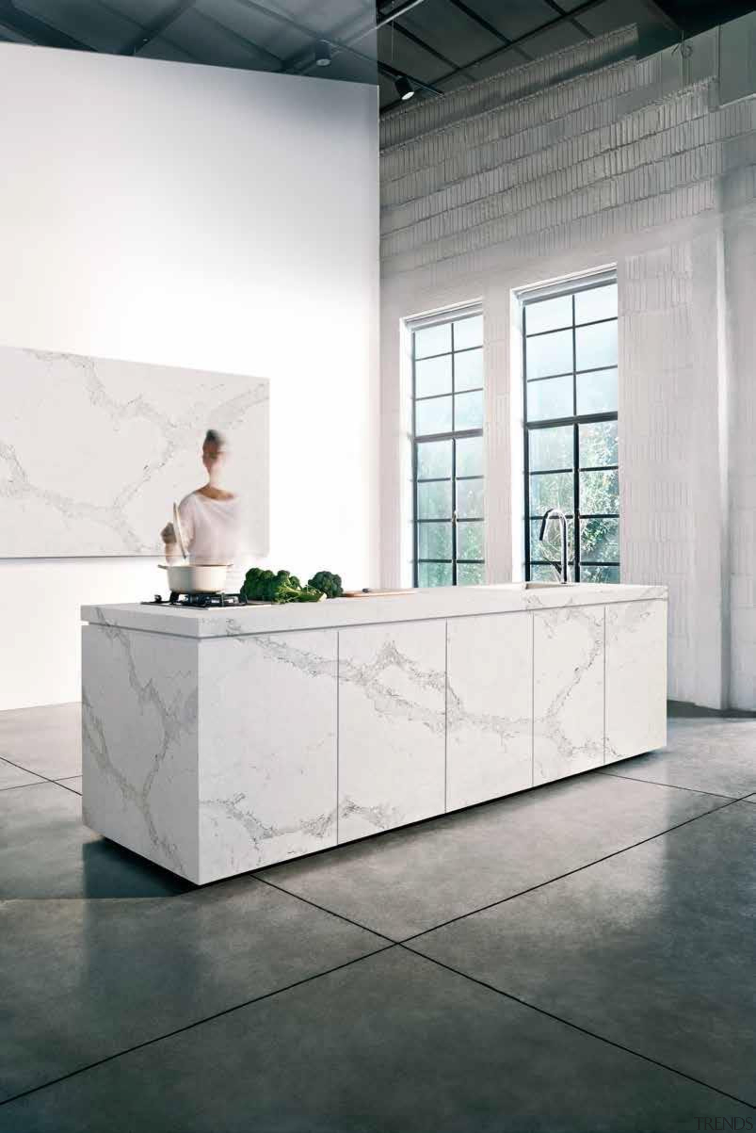 As Caesarstone's interpretation of natural Calacatta marble, Calacatta architecture, bathroom, floor, flooring, furniture, interior design, product design, table, white, gray