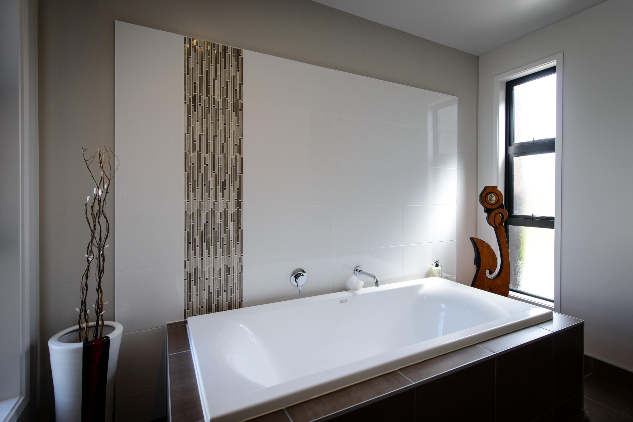 Relax in this bath, set behind a dividing bathroom, bathtub, interior design, plumbing fixture, room, window, gray