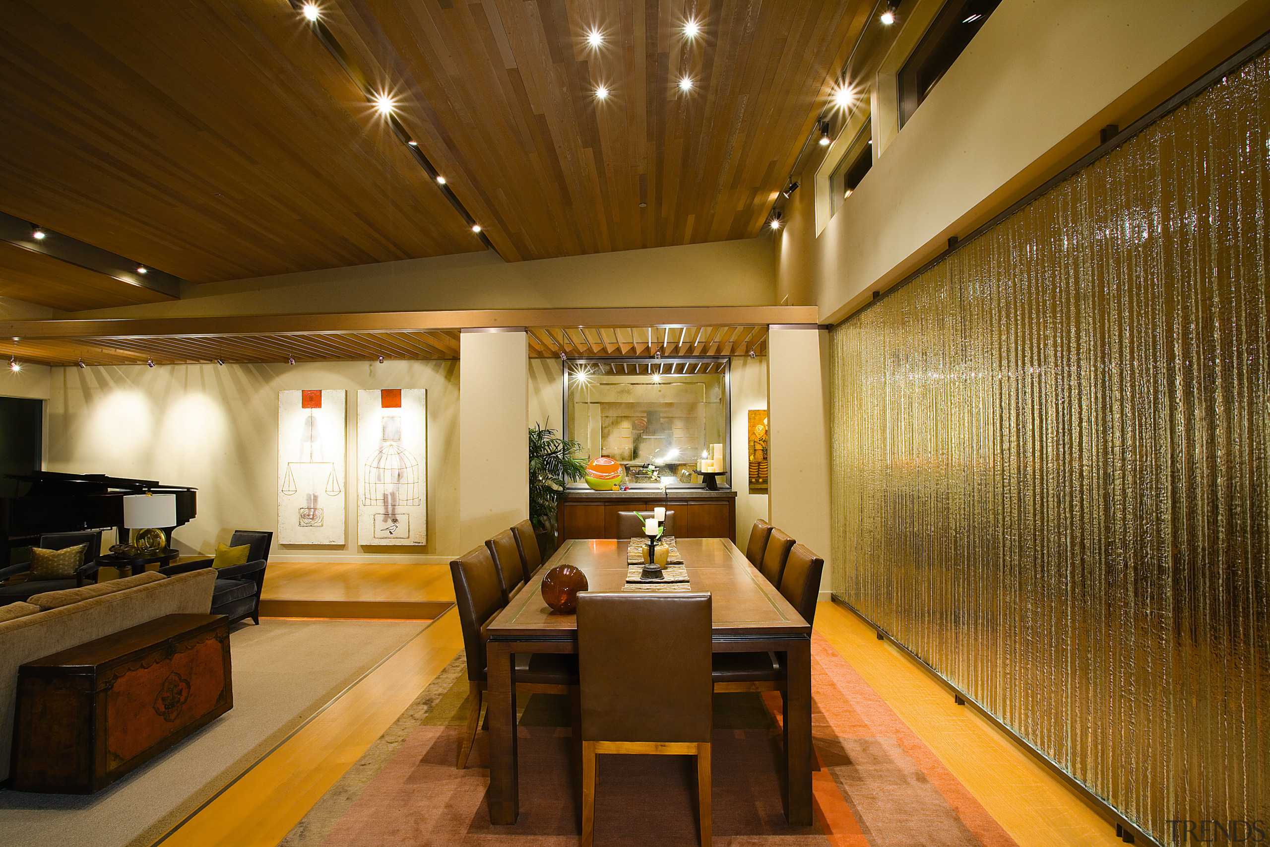 view of the formal dining room featuring timer ceiling, interior design, restaurant, brown